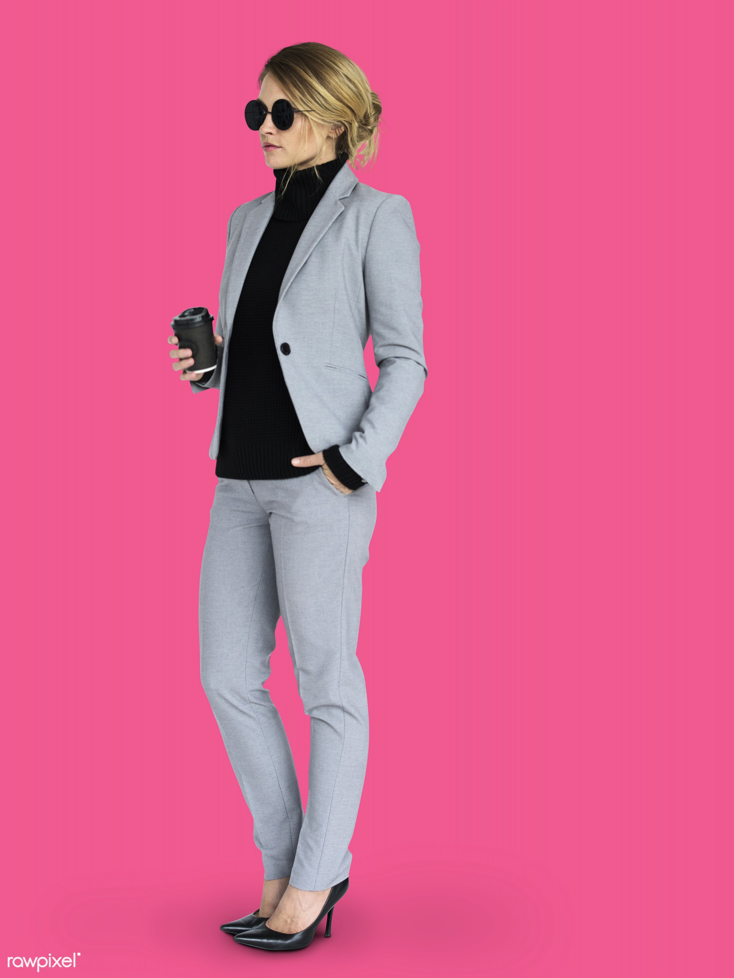 expression, studio, person, business wear, holding, people, caucasian, girl, woman, wearing sunglasses, positive, holding...