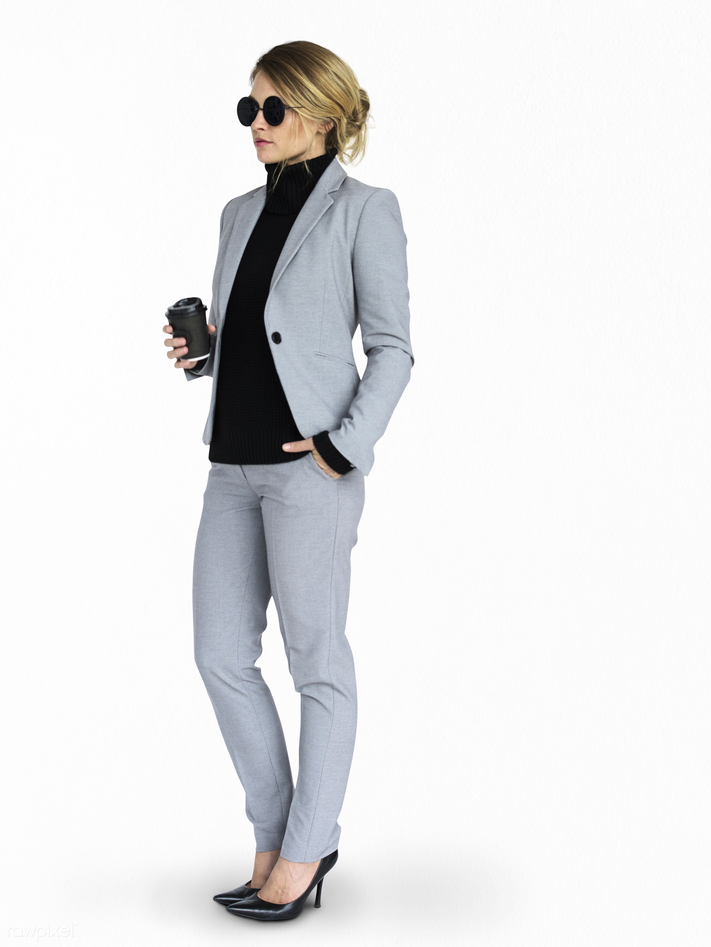 expression, studio, person, holding, business wear, isolated on white, people, caucasian, girl, woman, wearing sunglasses,...