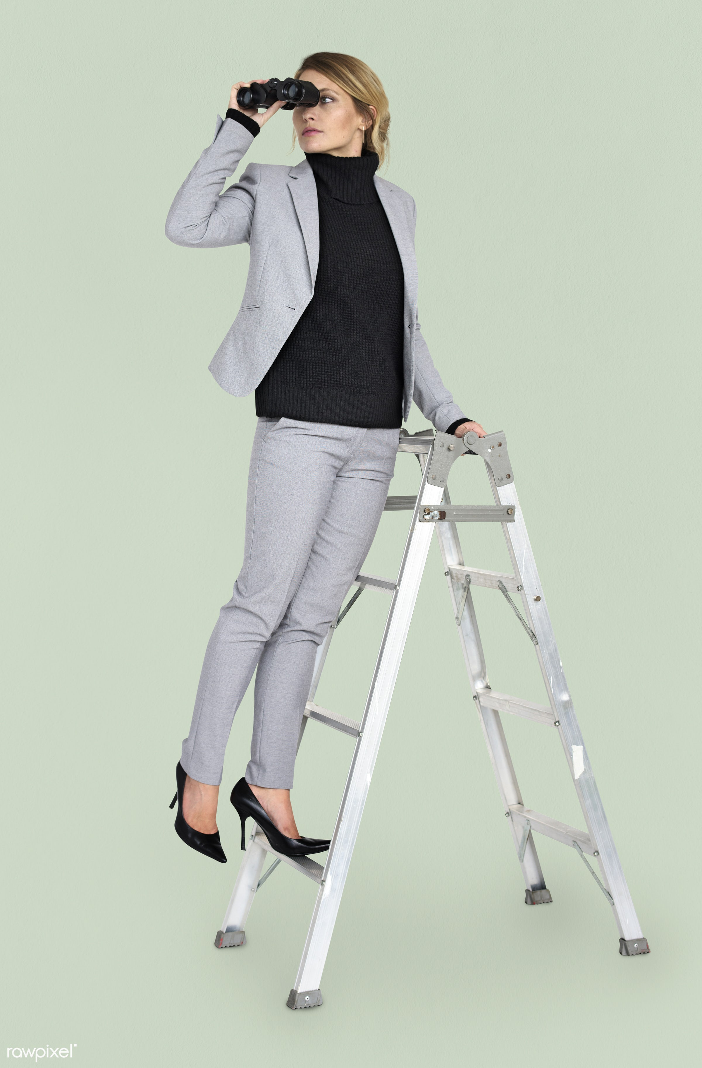 ladder, background, binoculars, business attire, business wear, business woman, candid, caucasian, emotion, expression,...