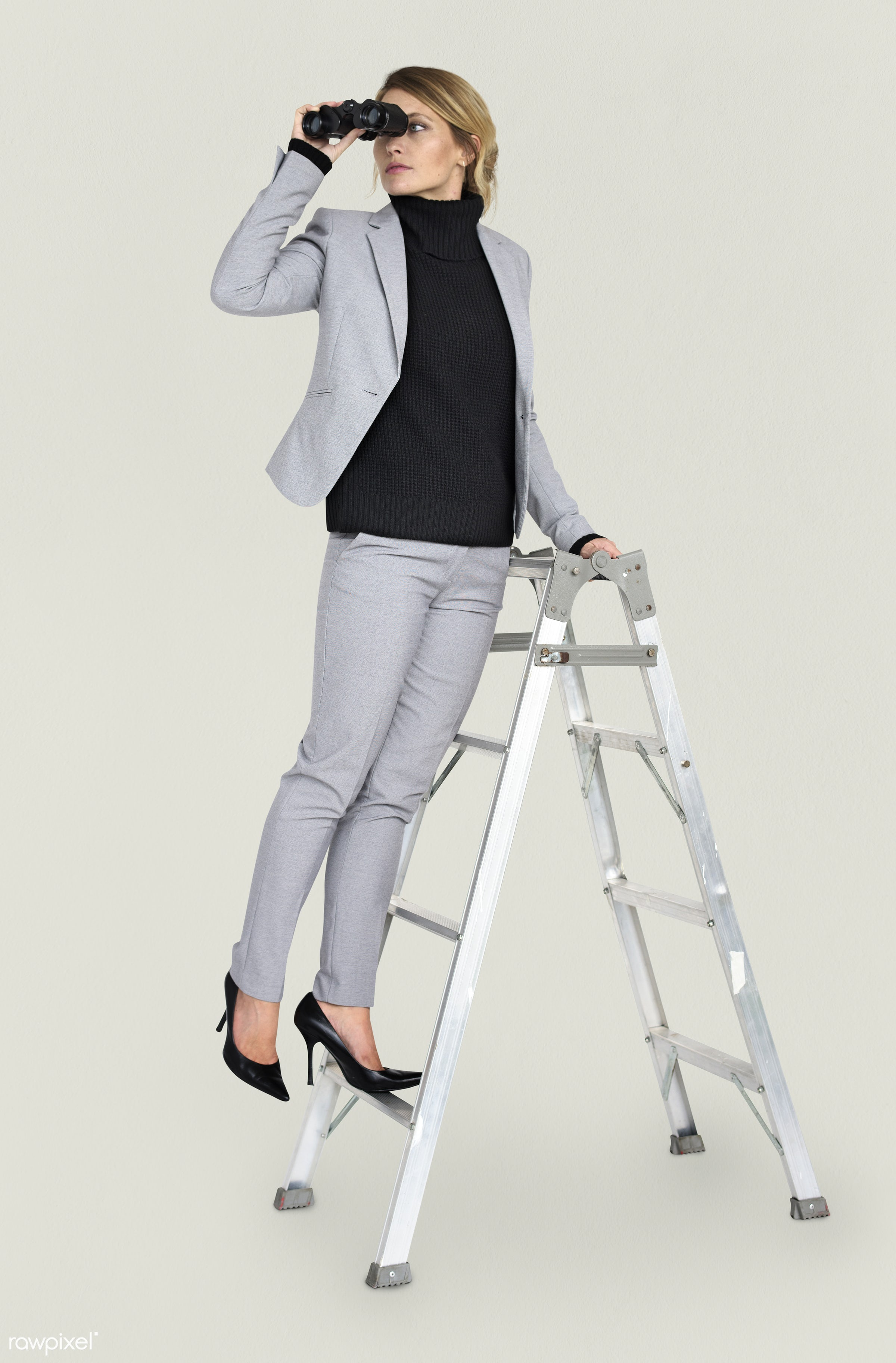 expression, studio, person, business wear, people, caucasian, looking, girl, woman, positive, formal attire, ladder, formal...