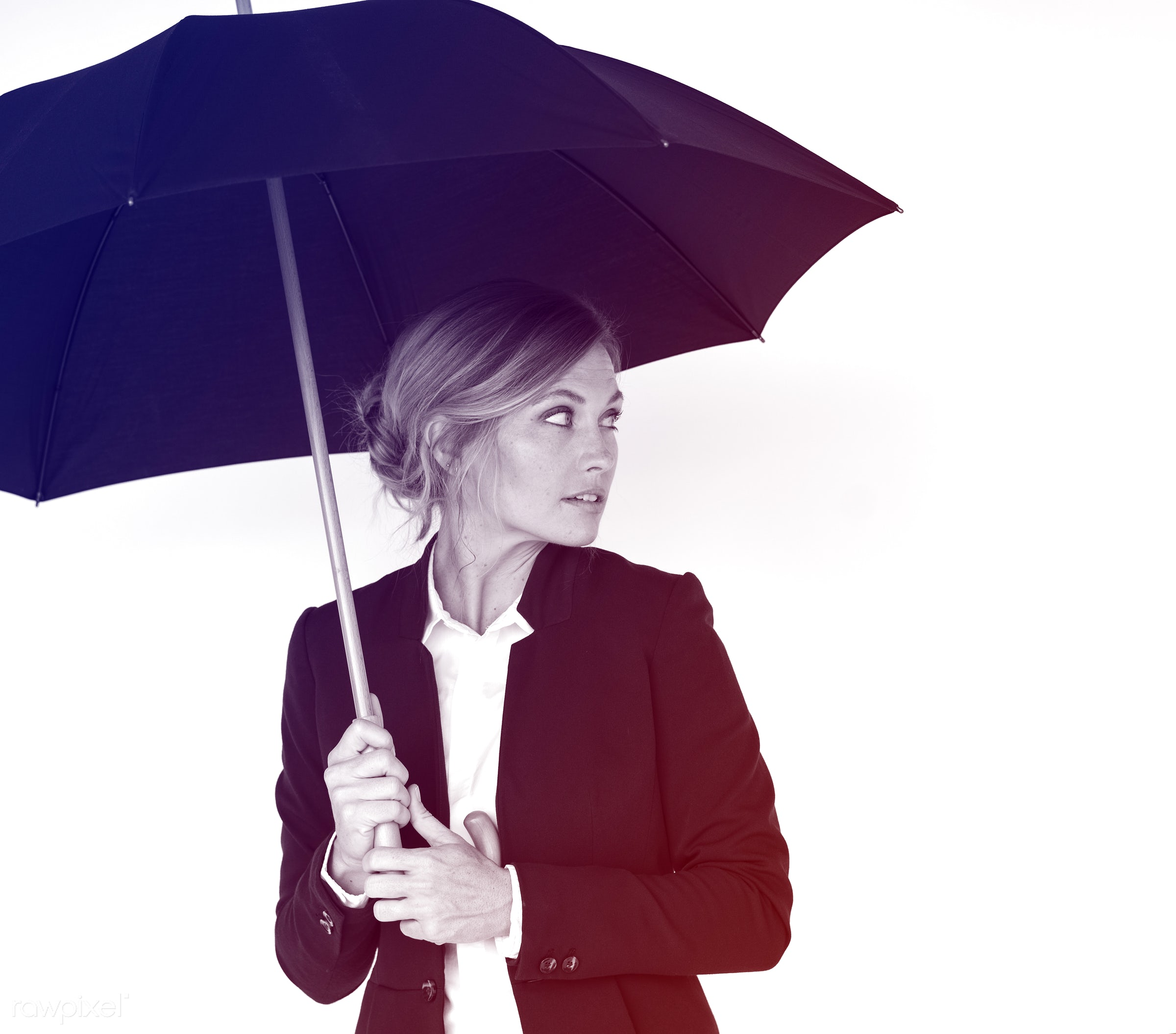 studio, expression, person, awareness, people, curious, woman, weather, alone, protection, isolated, hold, umbrella, white,...