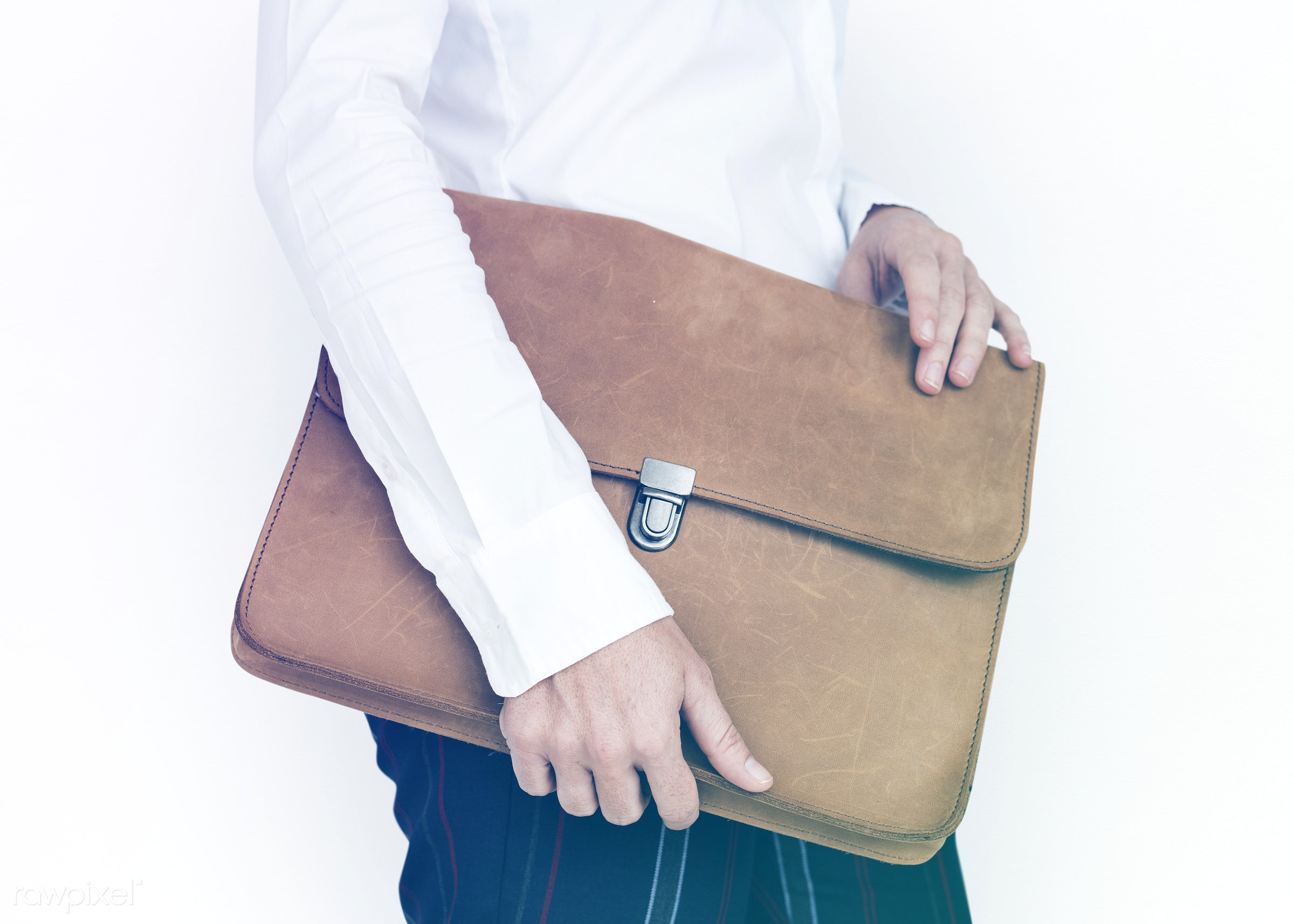 studio, expression, person, messenger bag, holding, business wear, isolated on white, folder bag, people, business, hands,...
