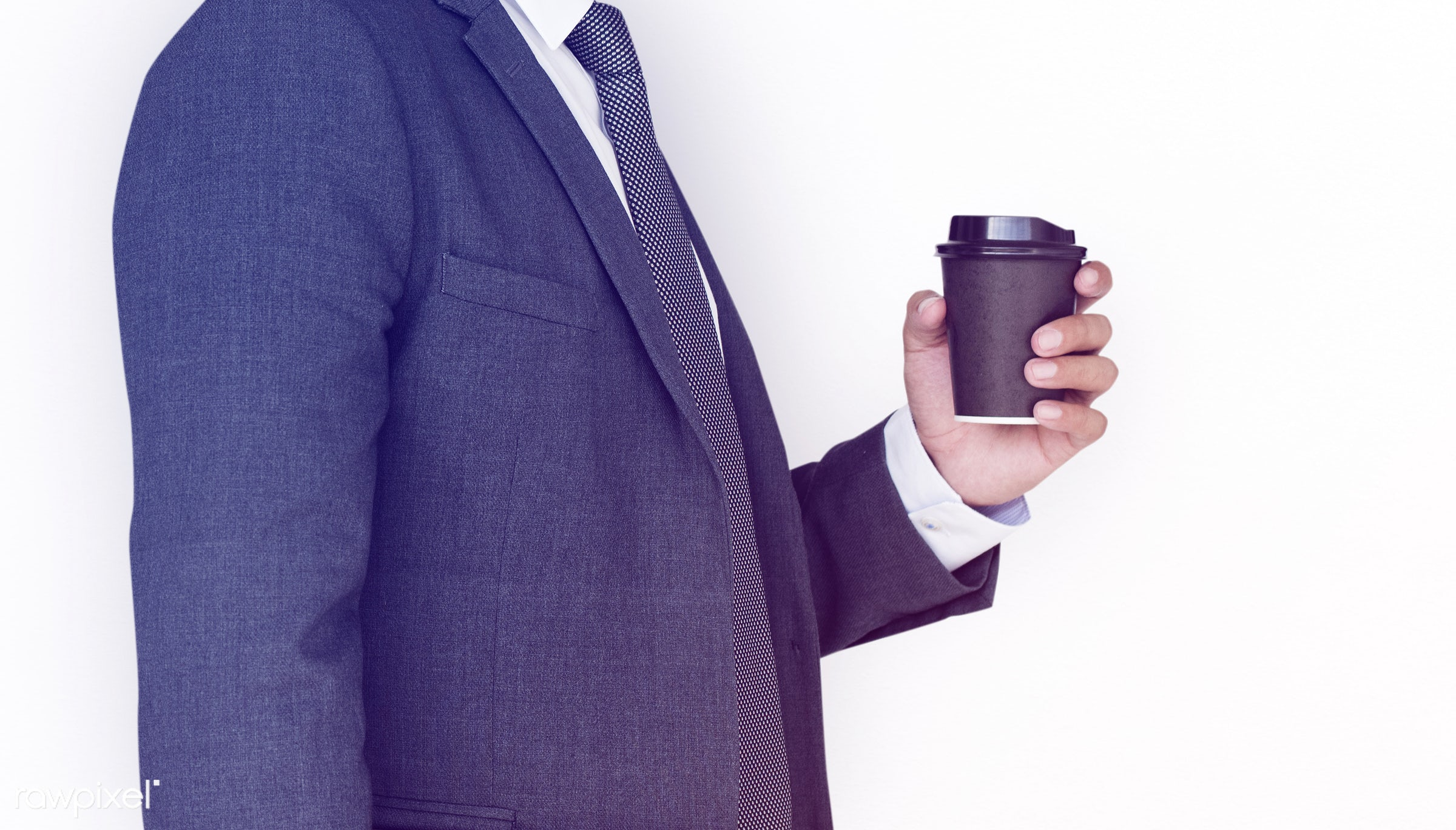 studio, cup, expression, person, business wear, isolated on white, side view, tea, people, formal dressing, business, side,...