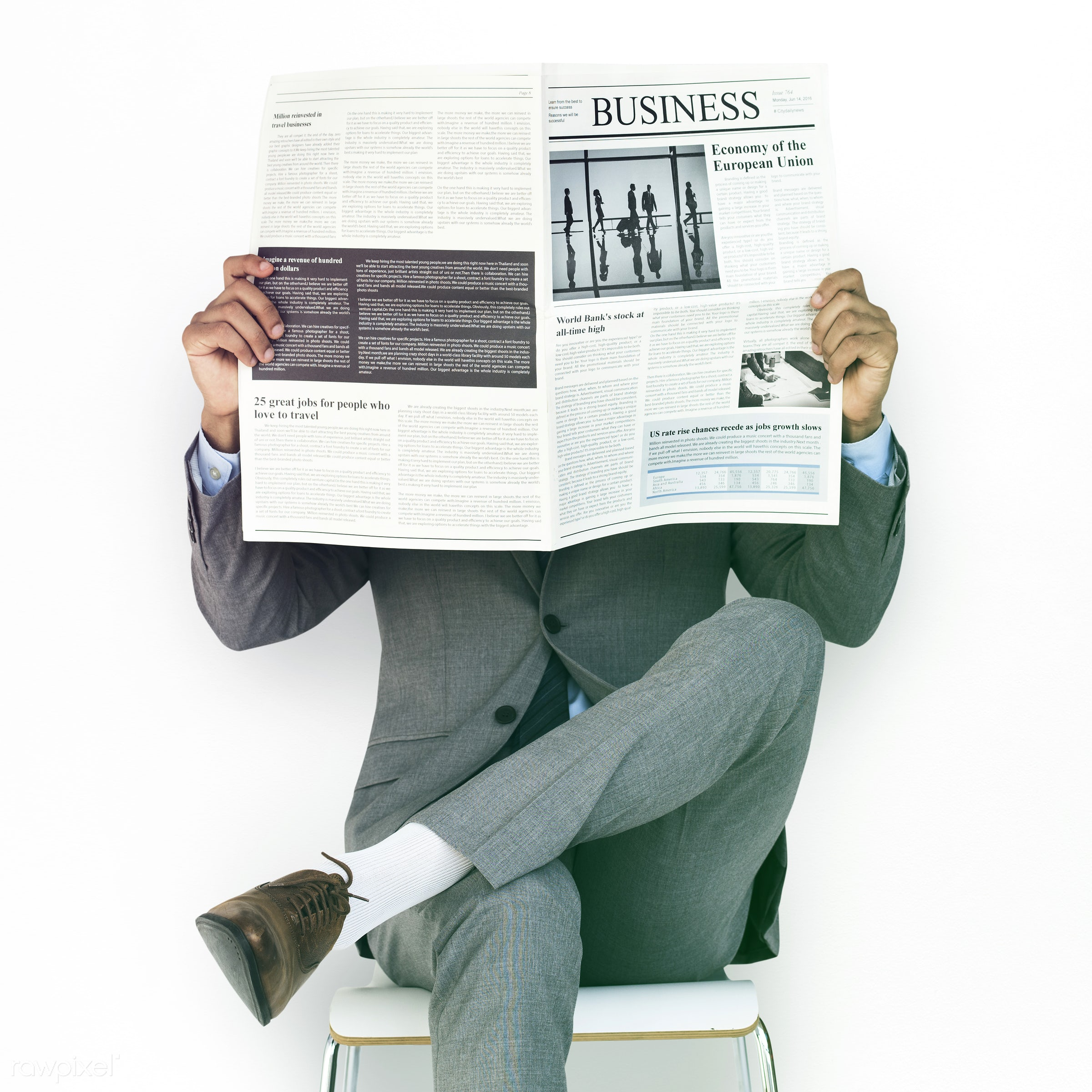 studio, expression, reading, person, business newspaper, business wear, isolated on white, people, formal dressing, business...