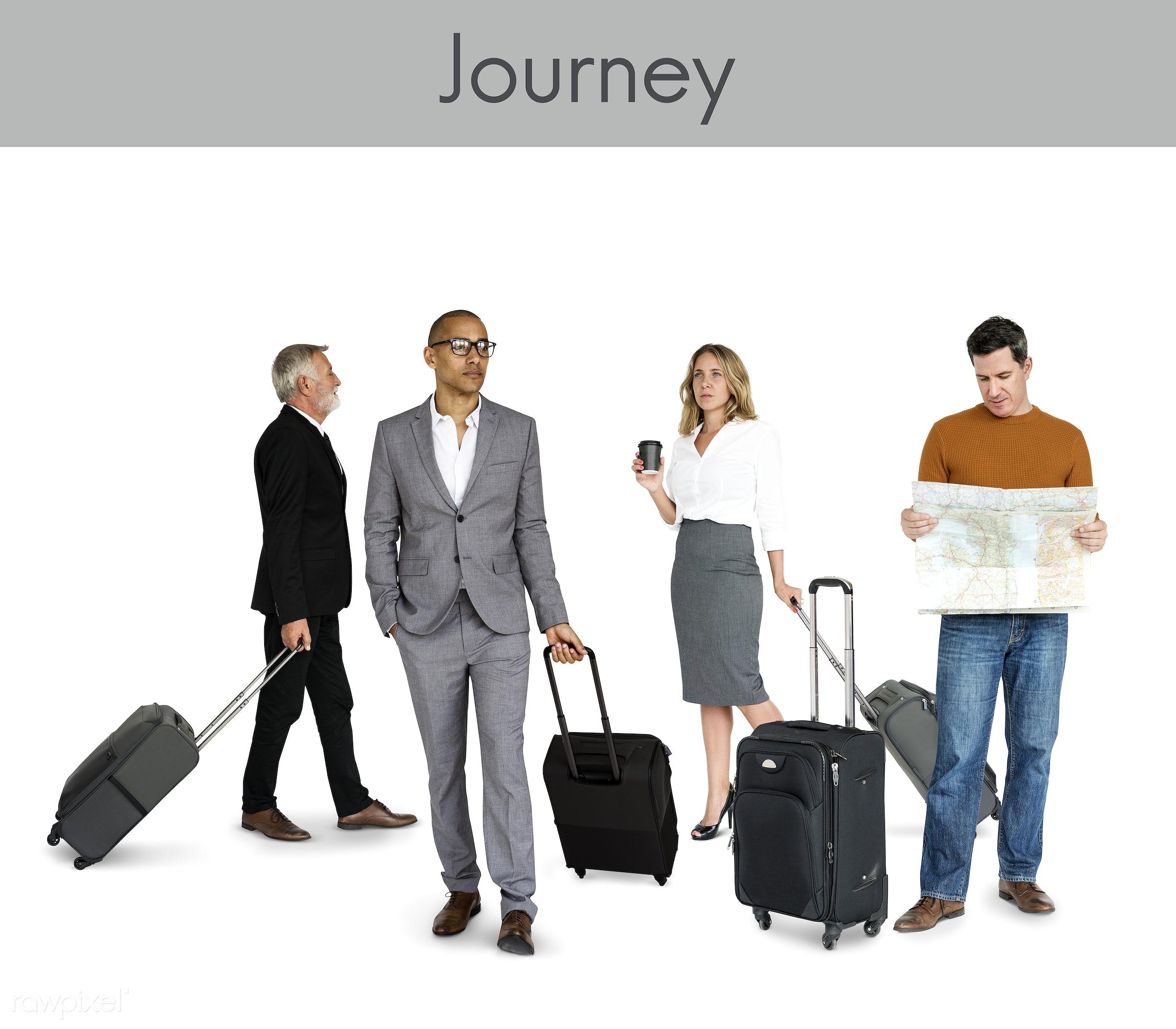 Diverse people set - abroad, adult, asian, away, bag, business, businessmen, candid, casual, caucasian, diverse, diversity,...