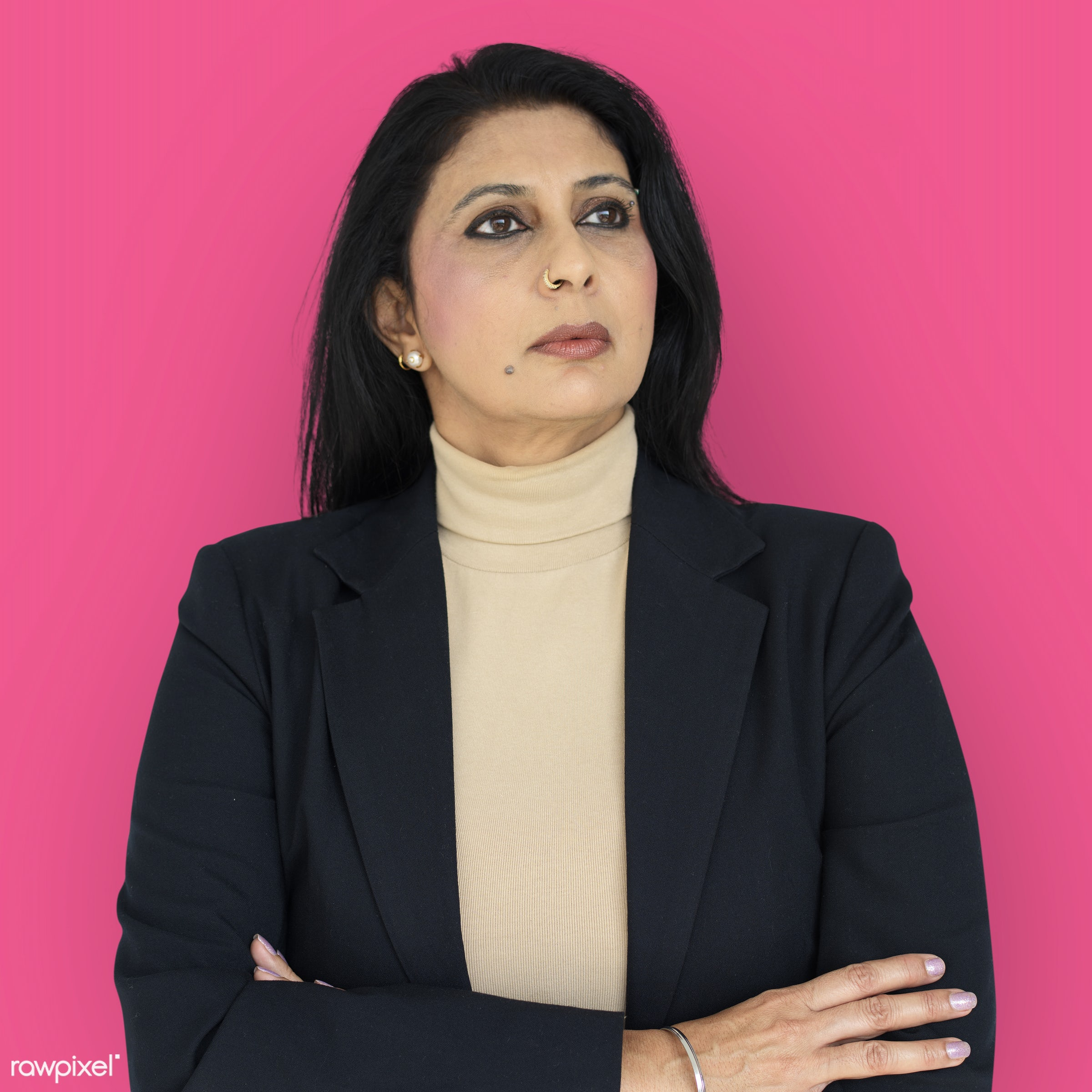expression, intelligent, studio, person, vibrant, people, woman, pink, serious, isolated, businesswoman, portrait, thinking...