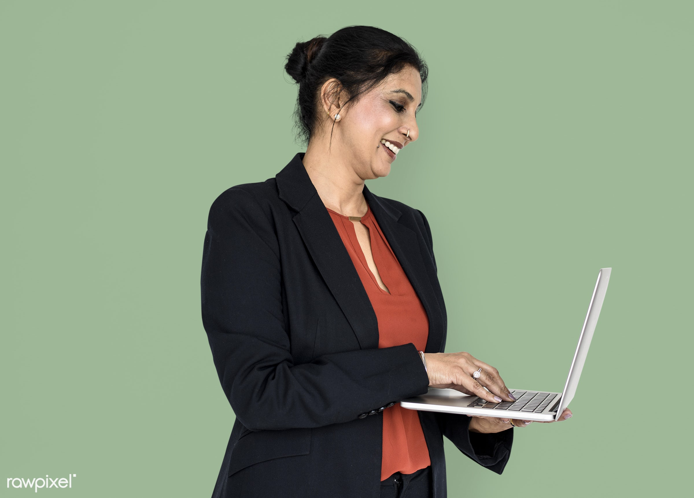 expression, studio, person, technology, business wear, people, business, asian, girl, woman, happy, laptop, working, smile,...