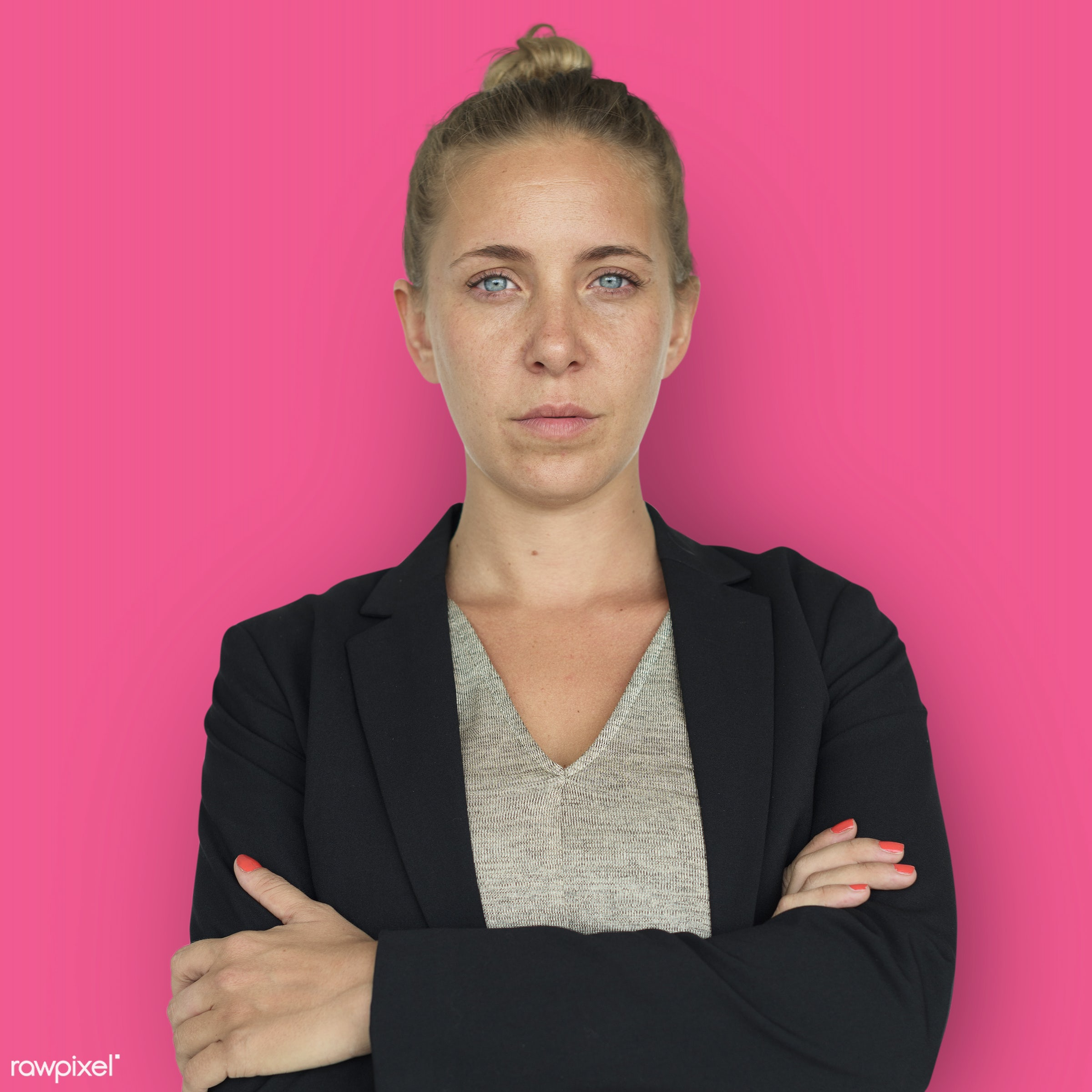 expression, intelligent, studio, person, vibrant, people, caucasian, woman, pink, serious, isolated, businesswoman, portrait...
