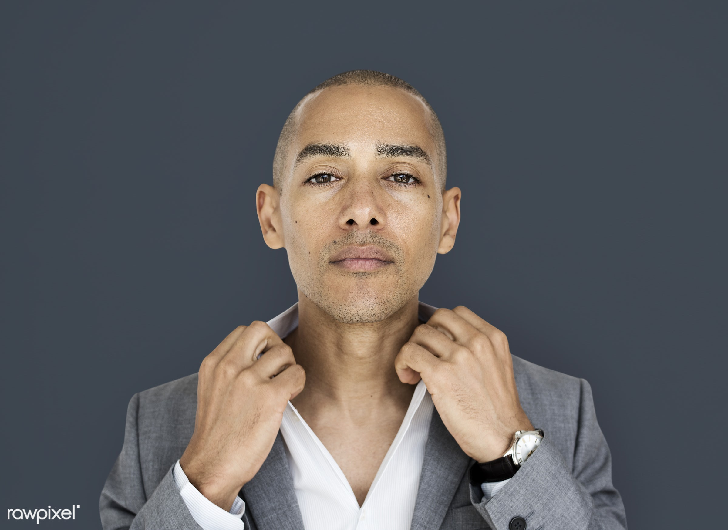 expression, studio, face, person, courage, carefree, people, business, businessman, fresh, casual, mixed race, man, isolated...