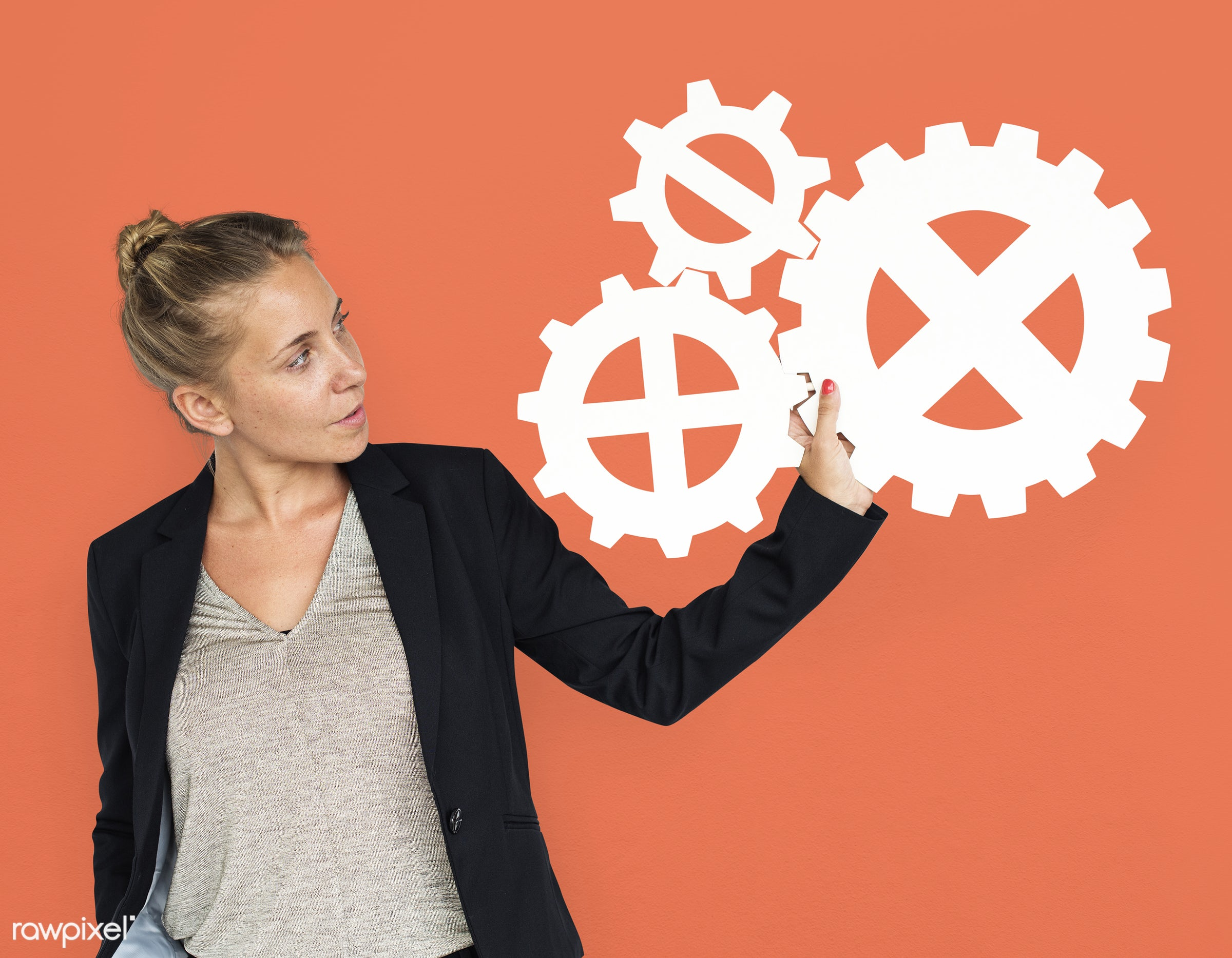 studio, expression, progress, person, holding, people, teamwork, gear, woman, orange, isolated, connection, symbol, engine,...