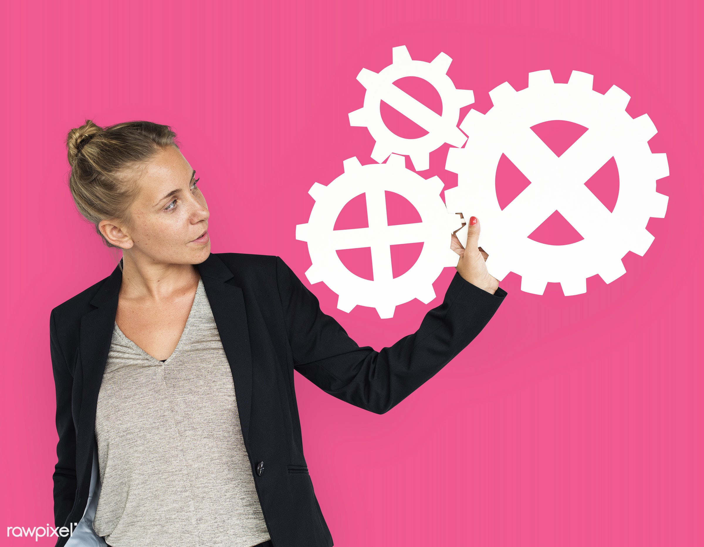 studio, expression, progress, person, holding, people, teamwork, gear, woman, pink, isolated, connection, symbol, engine,...
