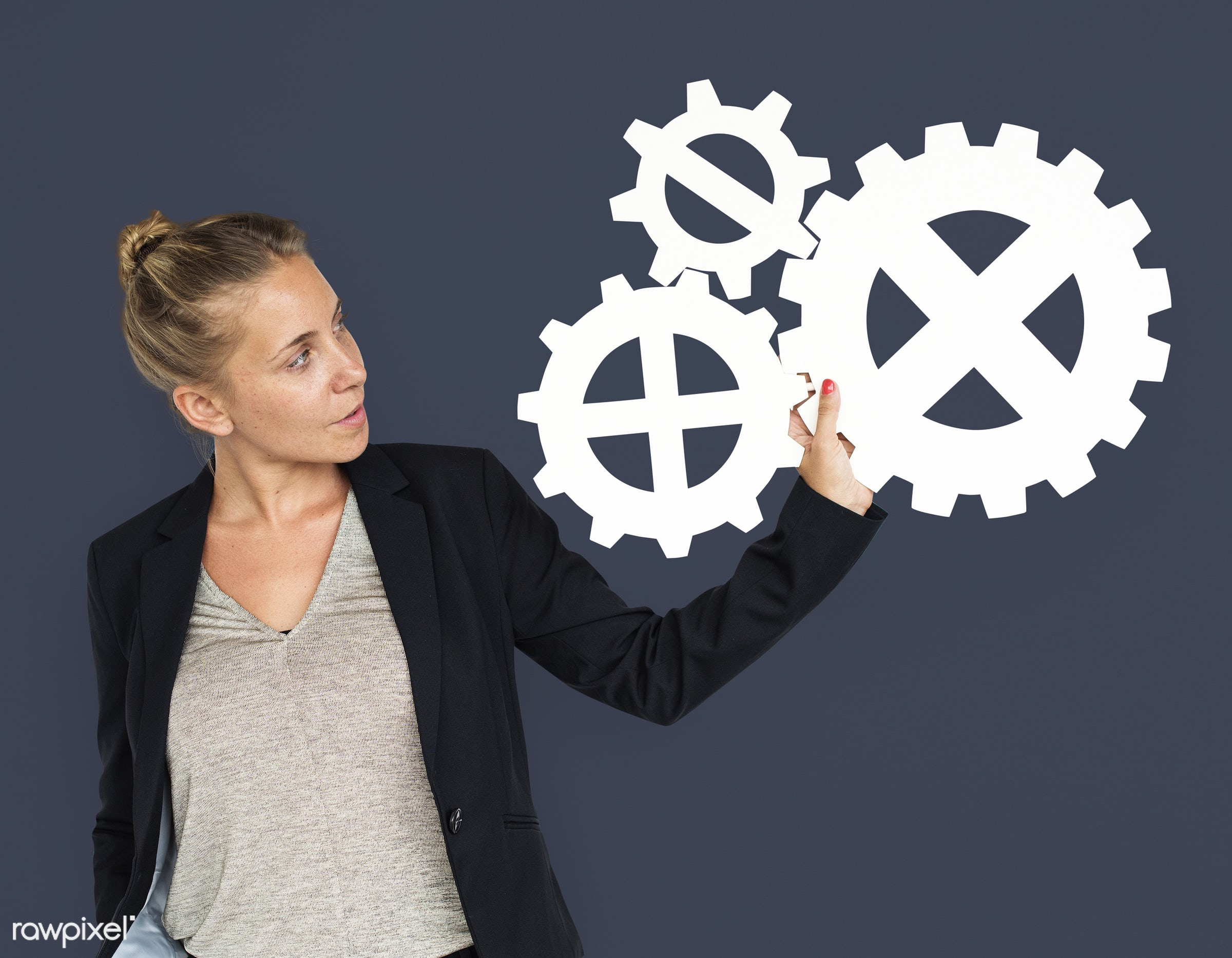 studio, expression, progress, person, holding, people, teamwork, gear, woman, isolated, connection, symbol, engine,...