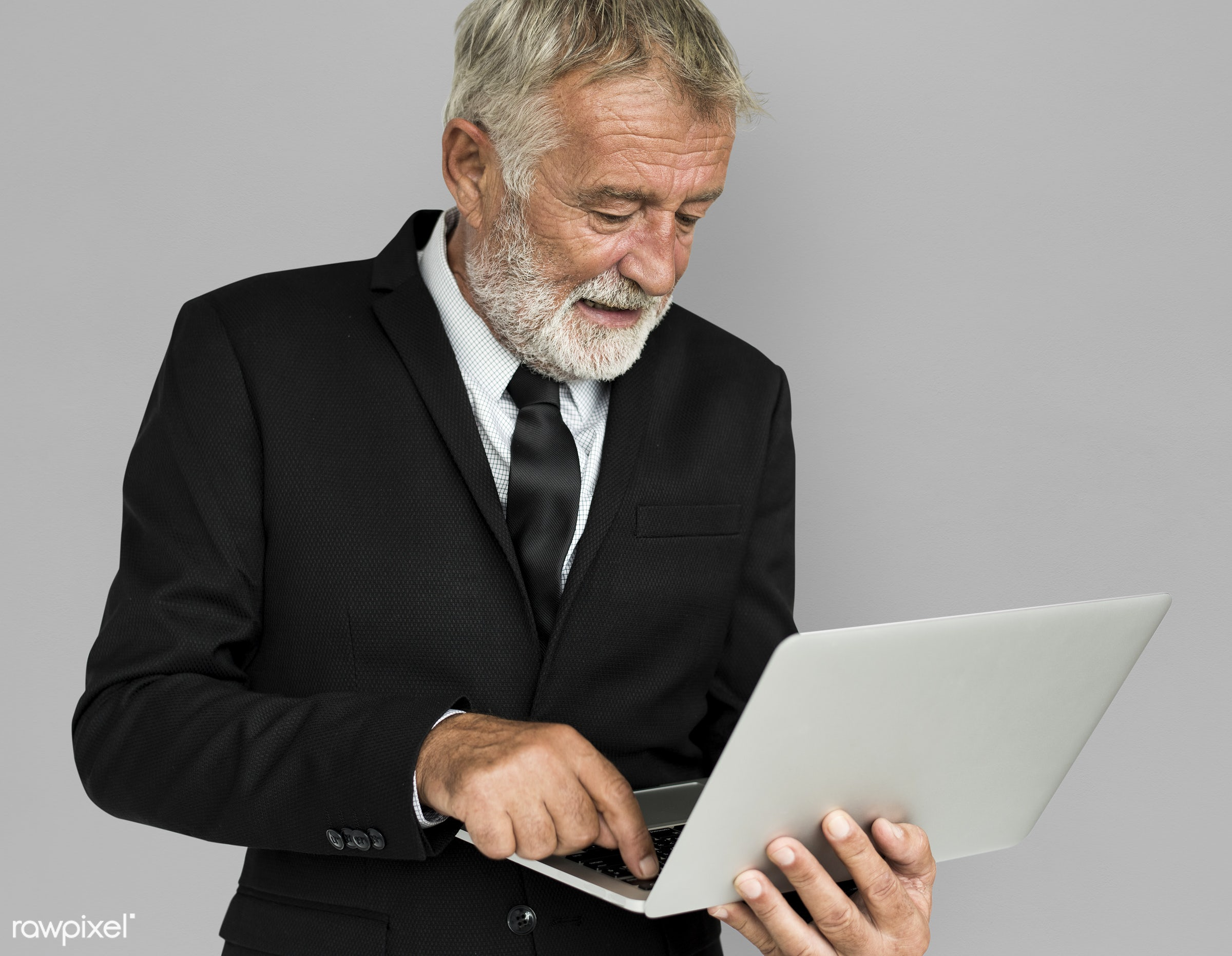expression, studio, person, technology, business wear, people, business, caucasian, happy, laptop, working, smile, positive...