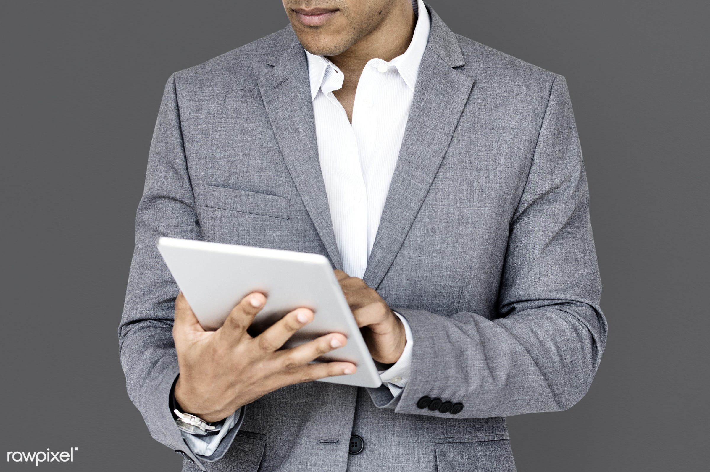 studio, expression, person, technology, business wear, concentrating, people, business, focused, working, serious, man,...