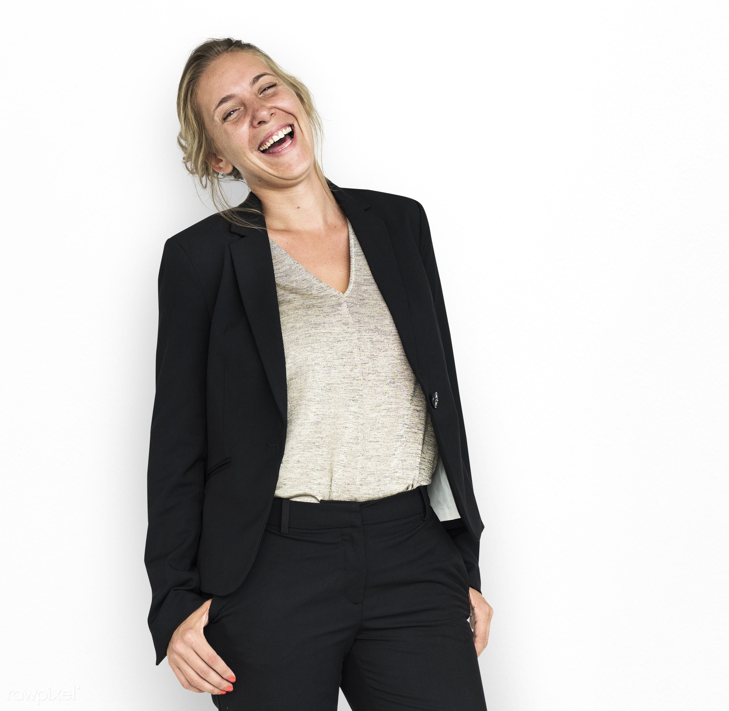 studio, expression, person, business wear, people, business, caucasian, girl, woman, happy, brainstorm, smile, cheerful,...