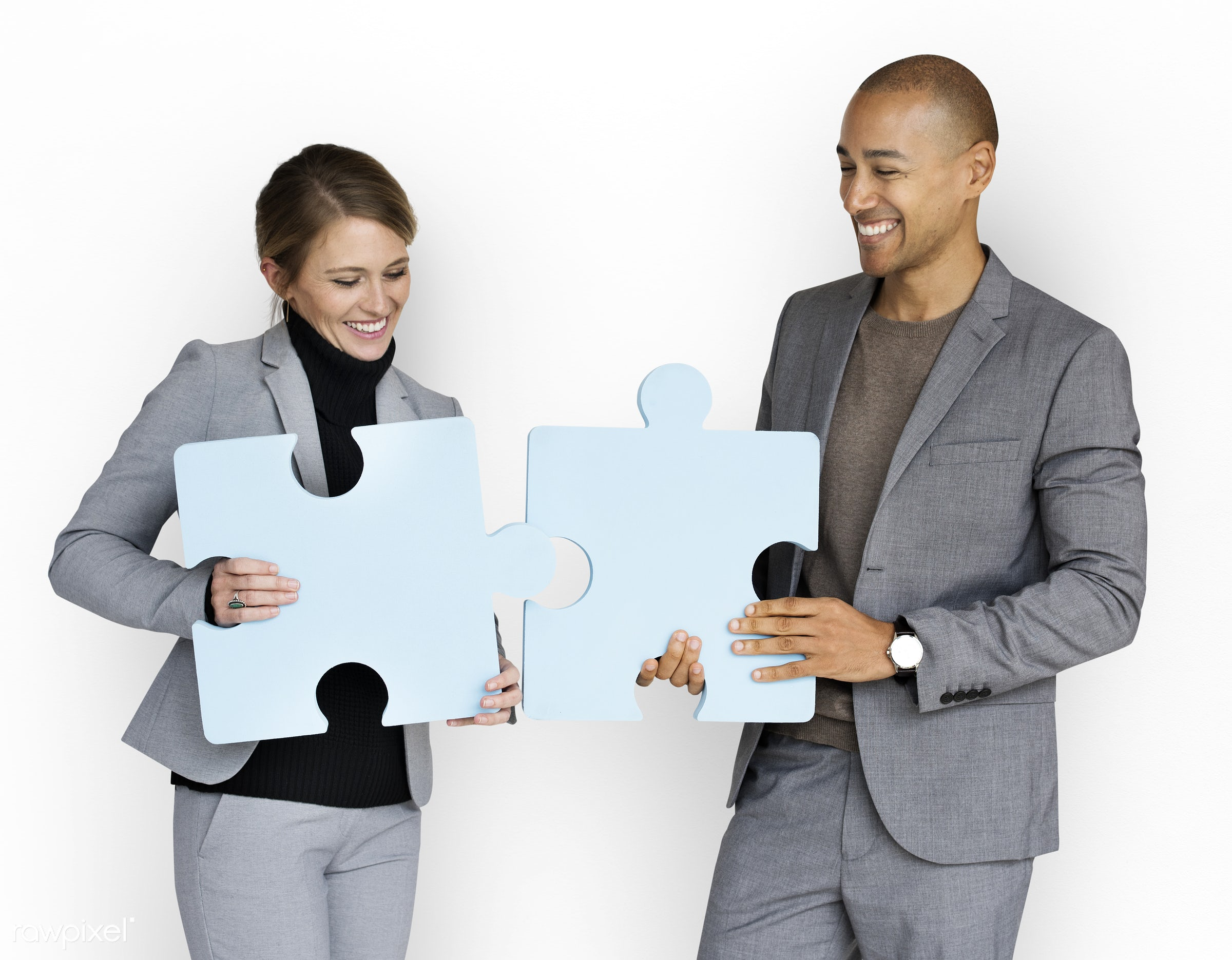 studio, expression, person, jigsaw, holding, people, teamwork, woman, cheerful, smiling, isolated, connection, symbol, white...