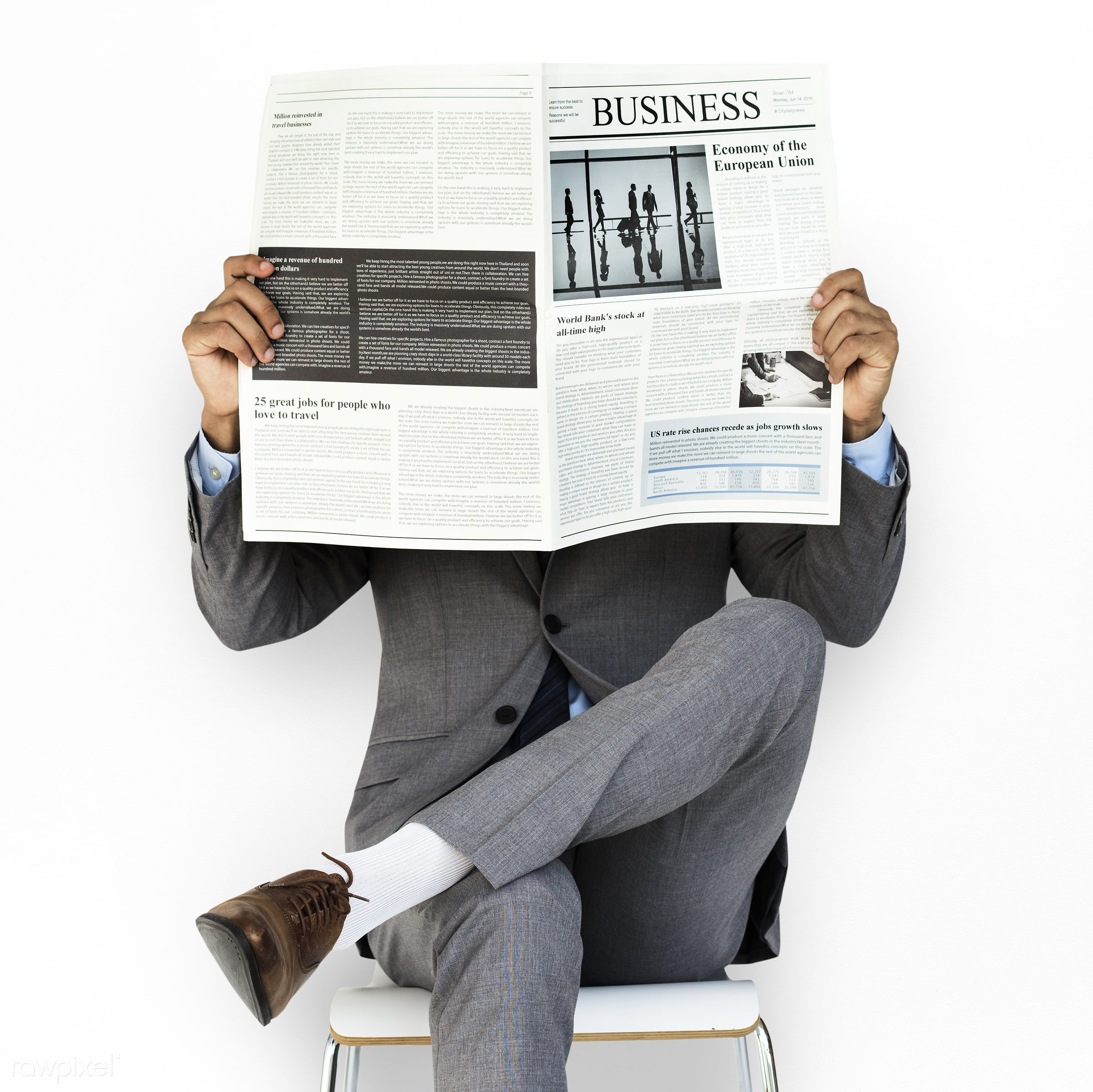 expression, studio, person, reading, business newspaper, business wear, isolated on white, people, formal dressing, business...