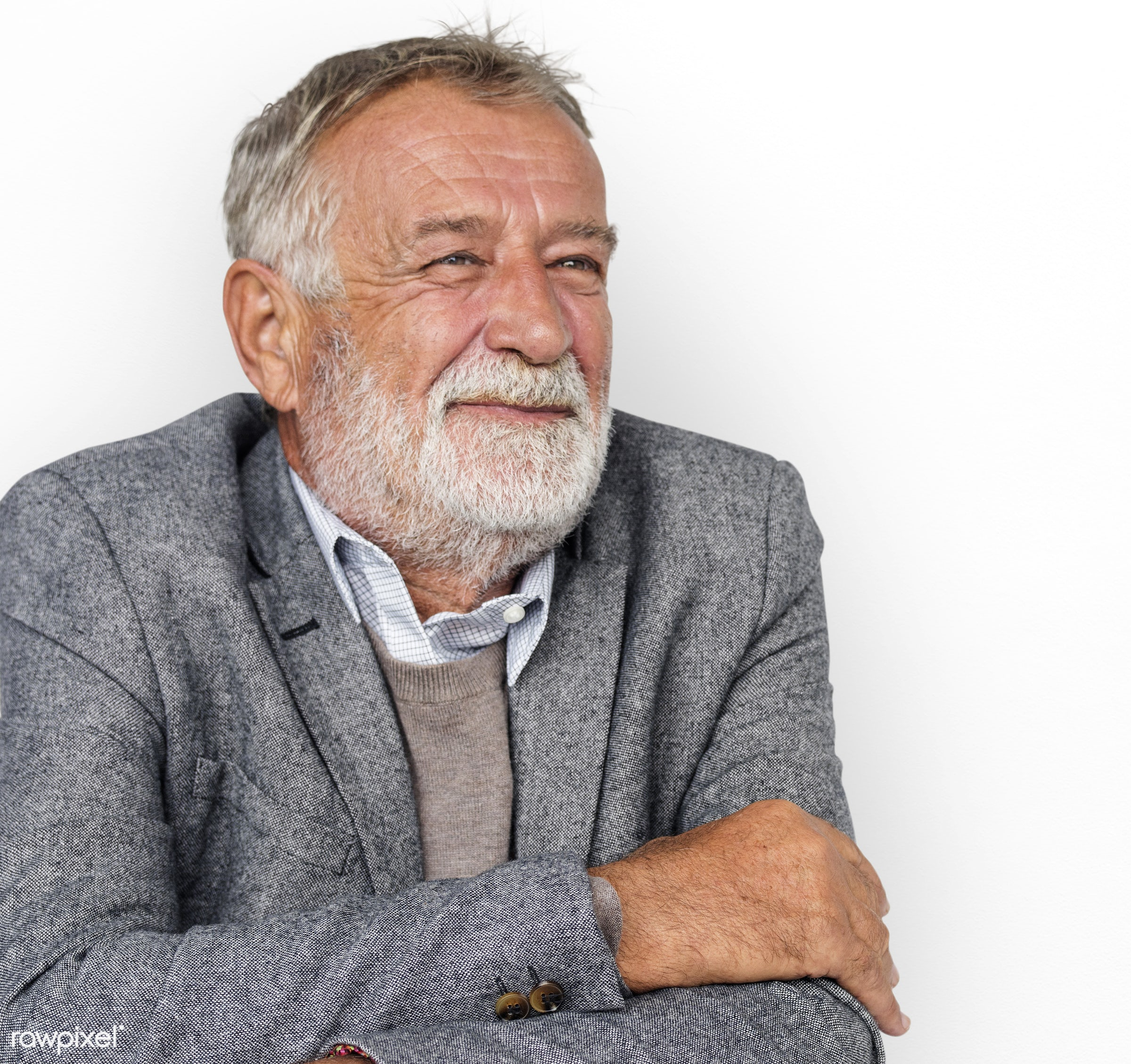 studio, expression, person, old, people, caucasian, smile, cheerful, smiling, isolated, business man, white, mood, happiness...