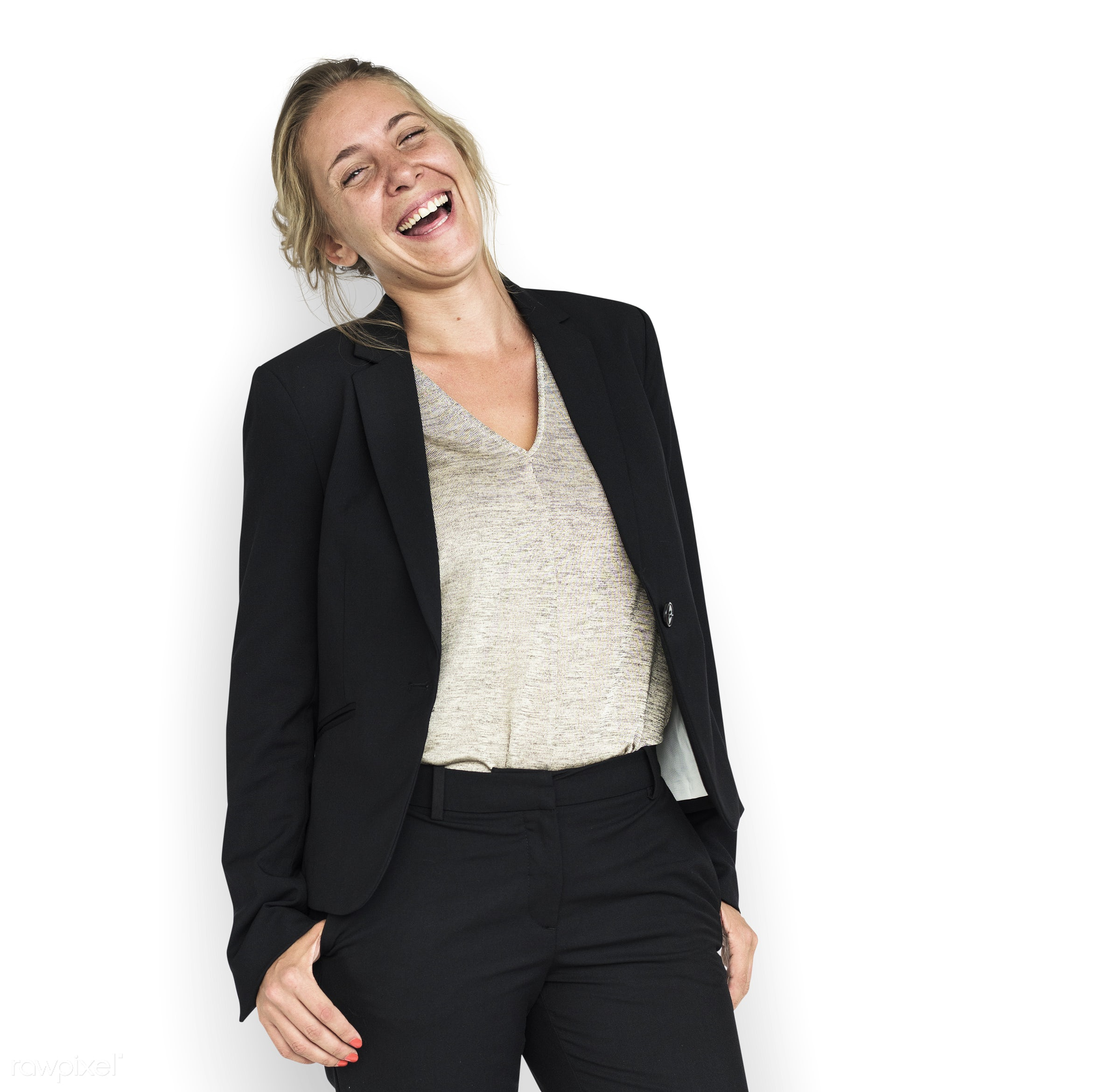 expression, studio, person, business wear, people, business, caucasian, girl, woman, happy, brainstorm, smile, cheerful,...