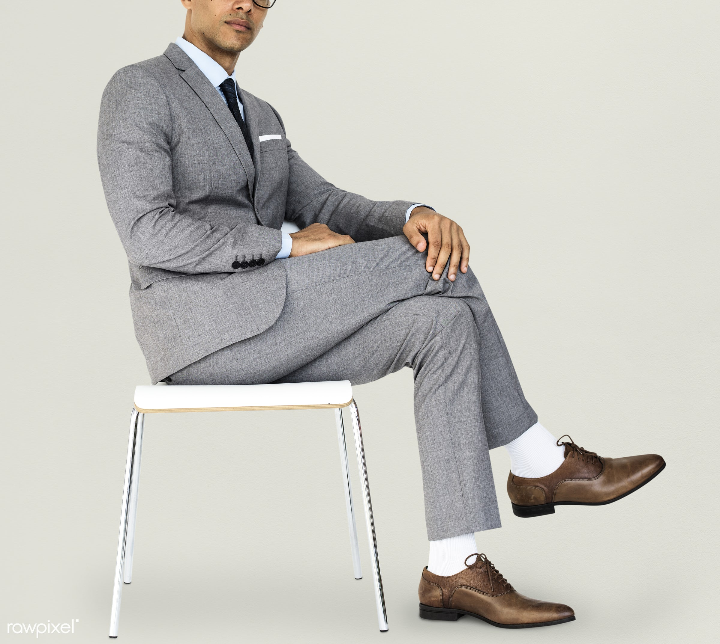 studio, expression, face, person, glasses, courage, carefree, people, business, businessman, fresh, casual, grey, mixed race...