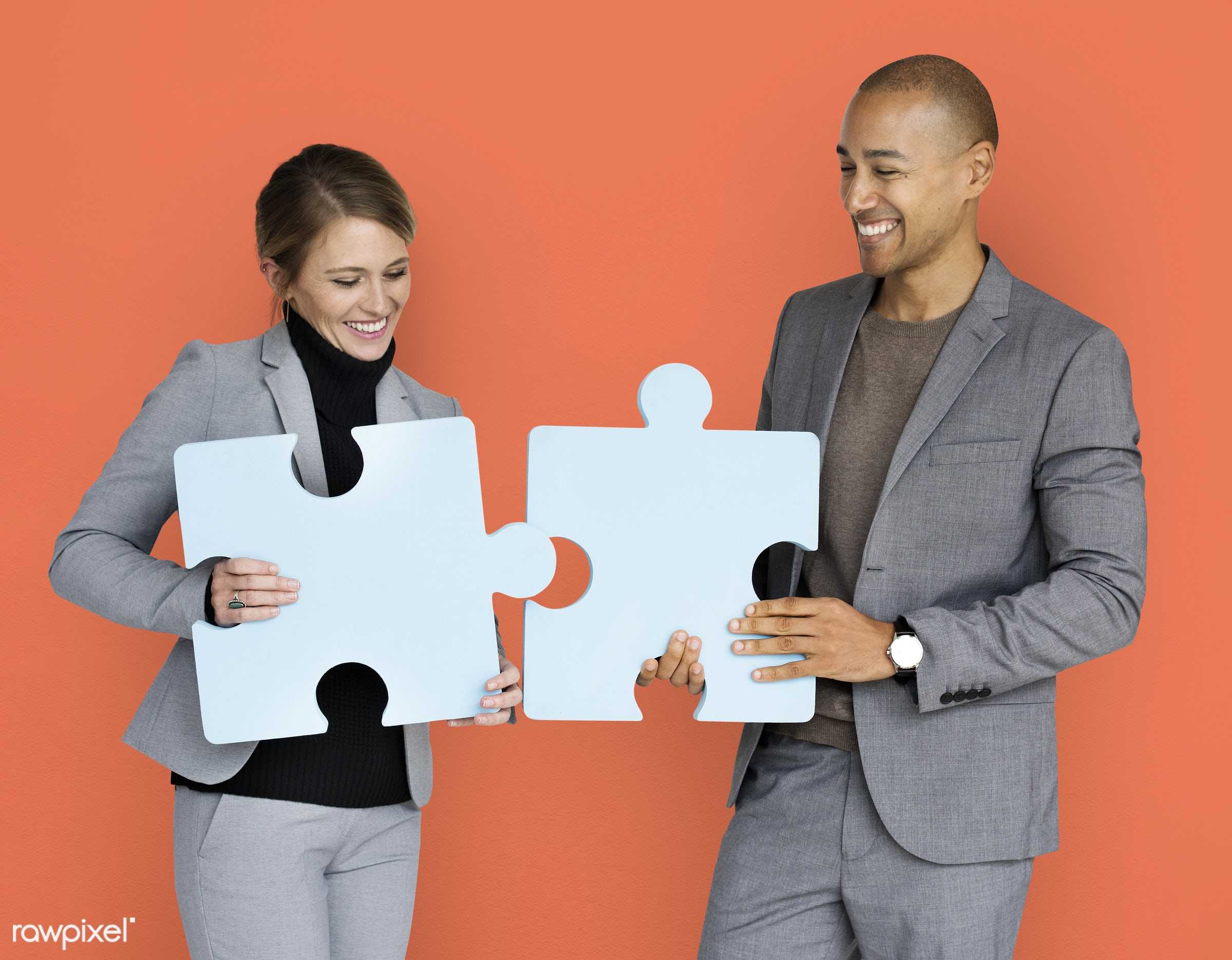 studio, expression, person, jigsaw, holding, people, teamwork, woman, cheerful, smiling, orange, isolated, connection,...