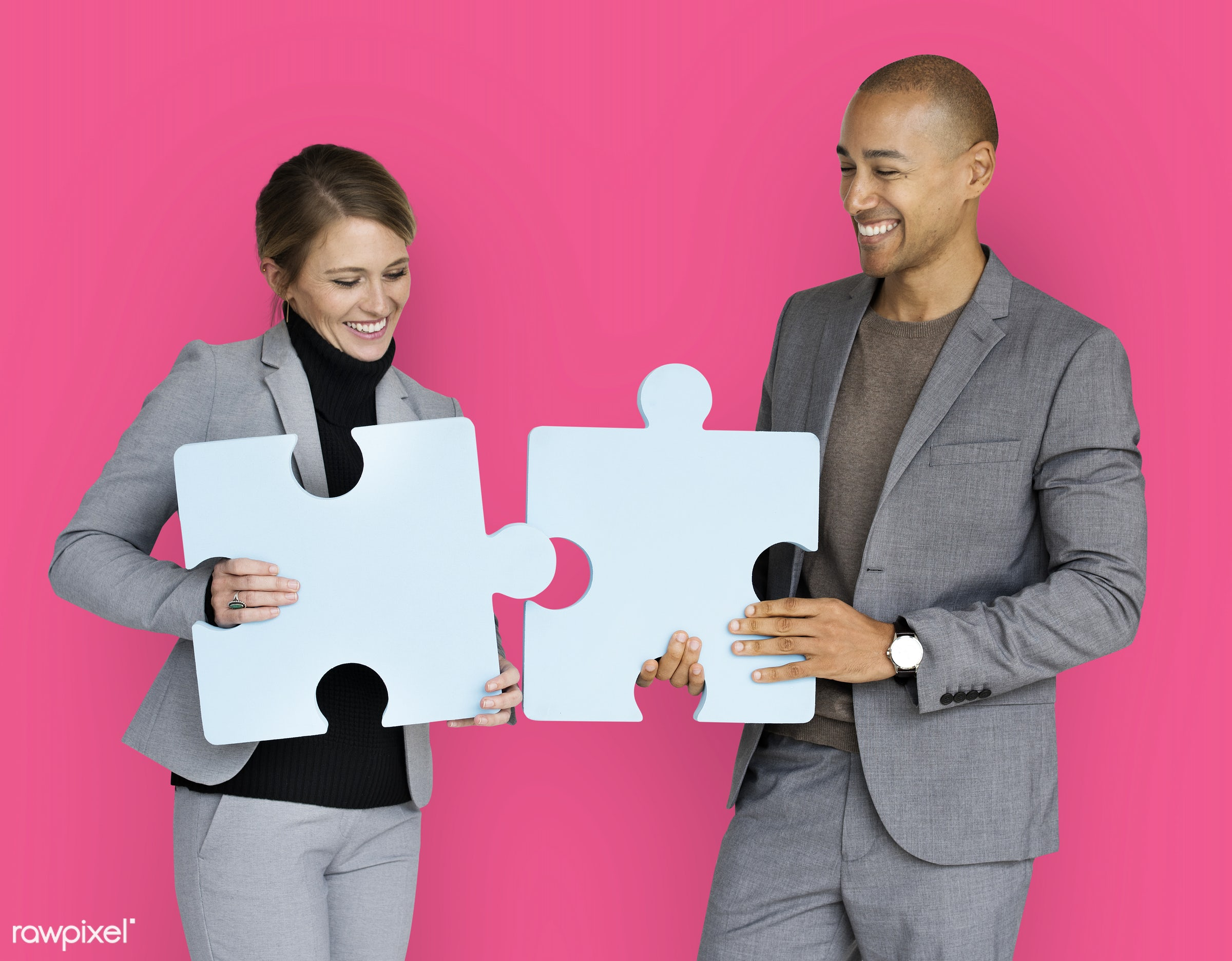 studio, expression, person, jigsaw, holding, people, teamwork, woman, pink, cheerful, smiling, isolated, connection, symbol...