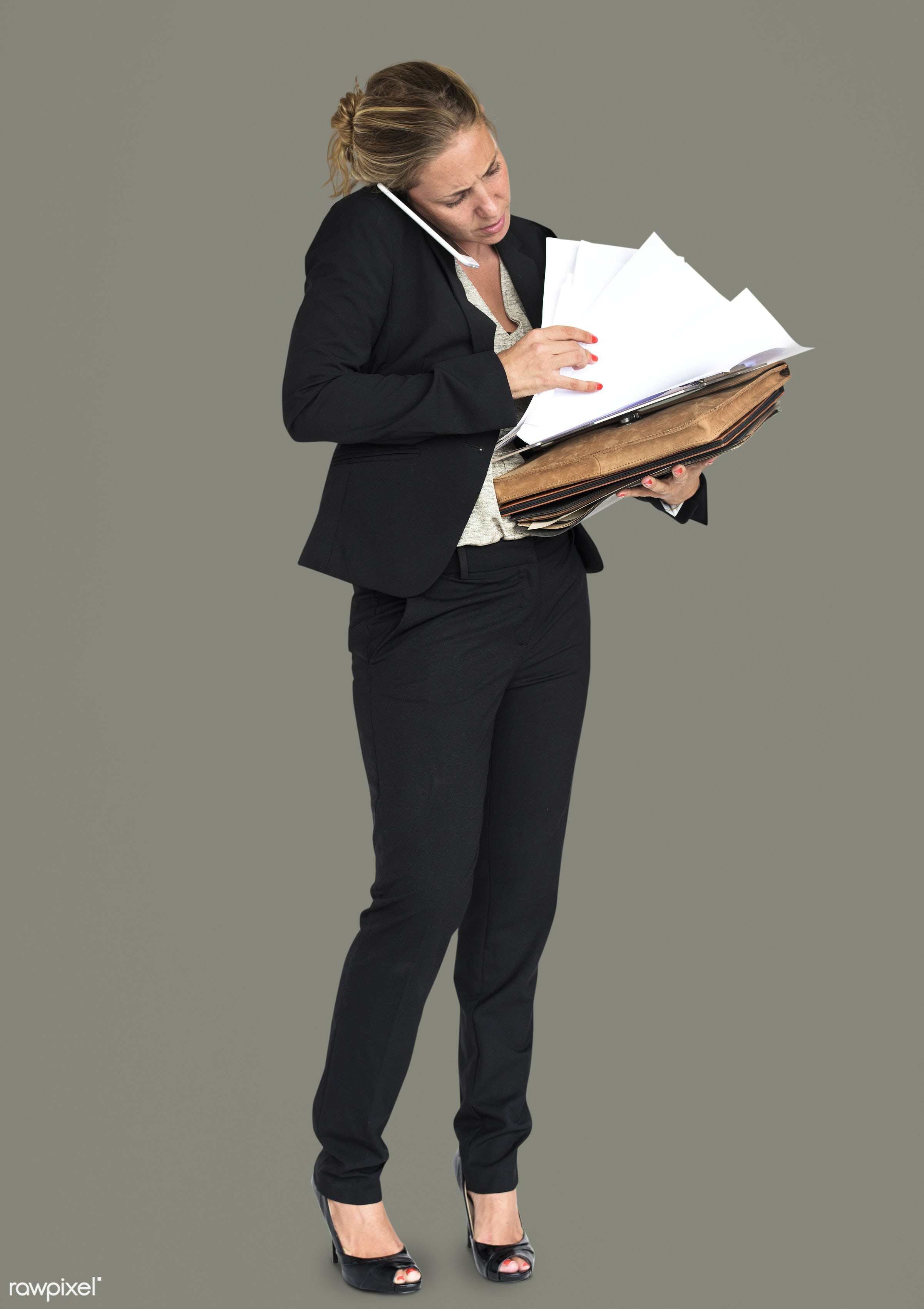 expression, studio, person, phone, busy, business folders, people, business, caucasian, girl, woman, formal attire, work,...