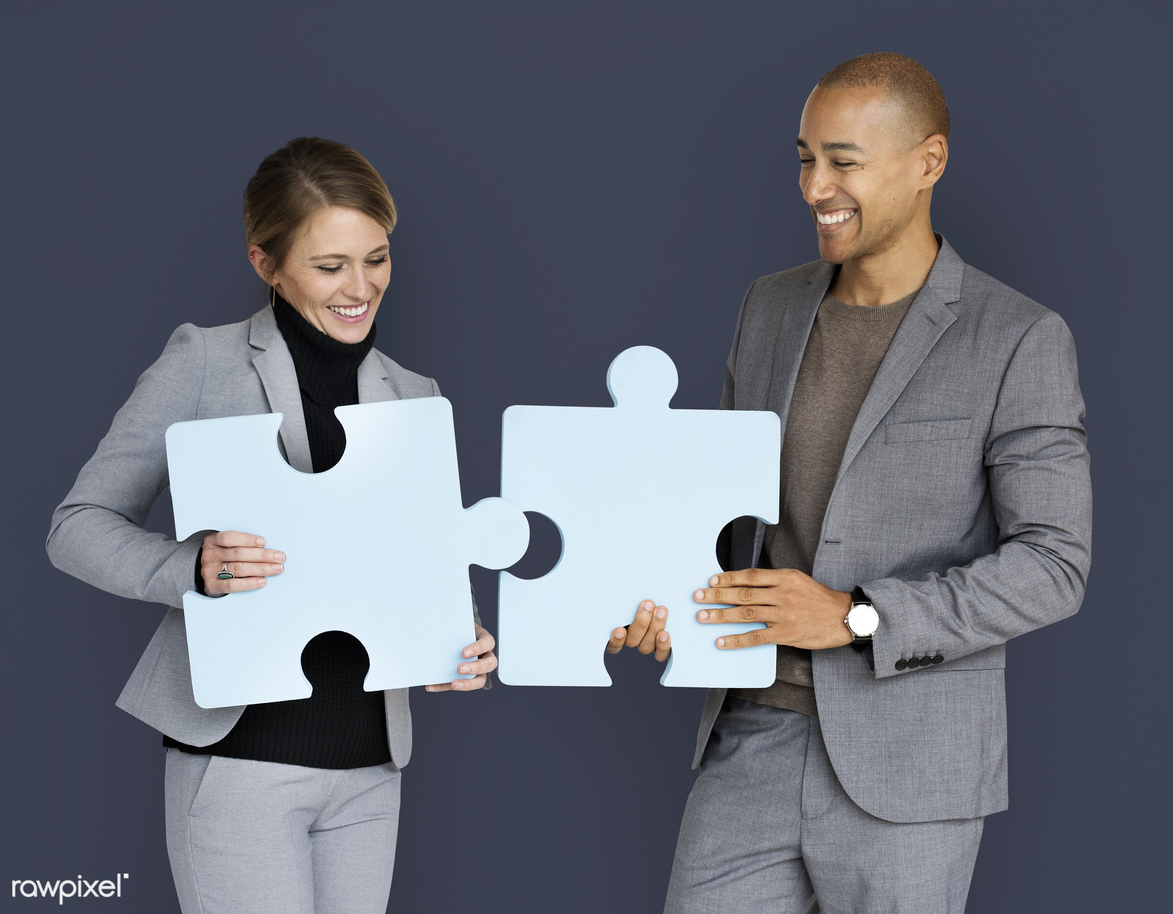 studio, expression, person, jigsaw, holding, people, teamwork, woman, cheerful, smiling, isolated, connection, symbol,...