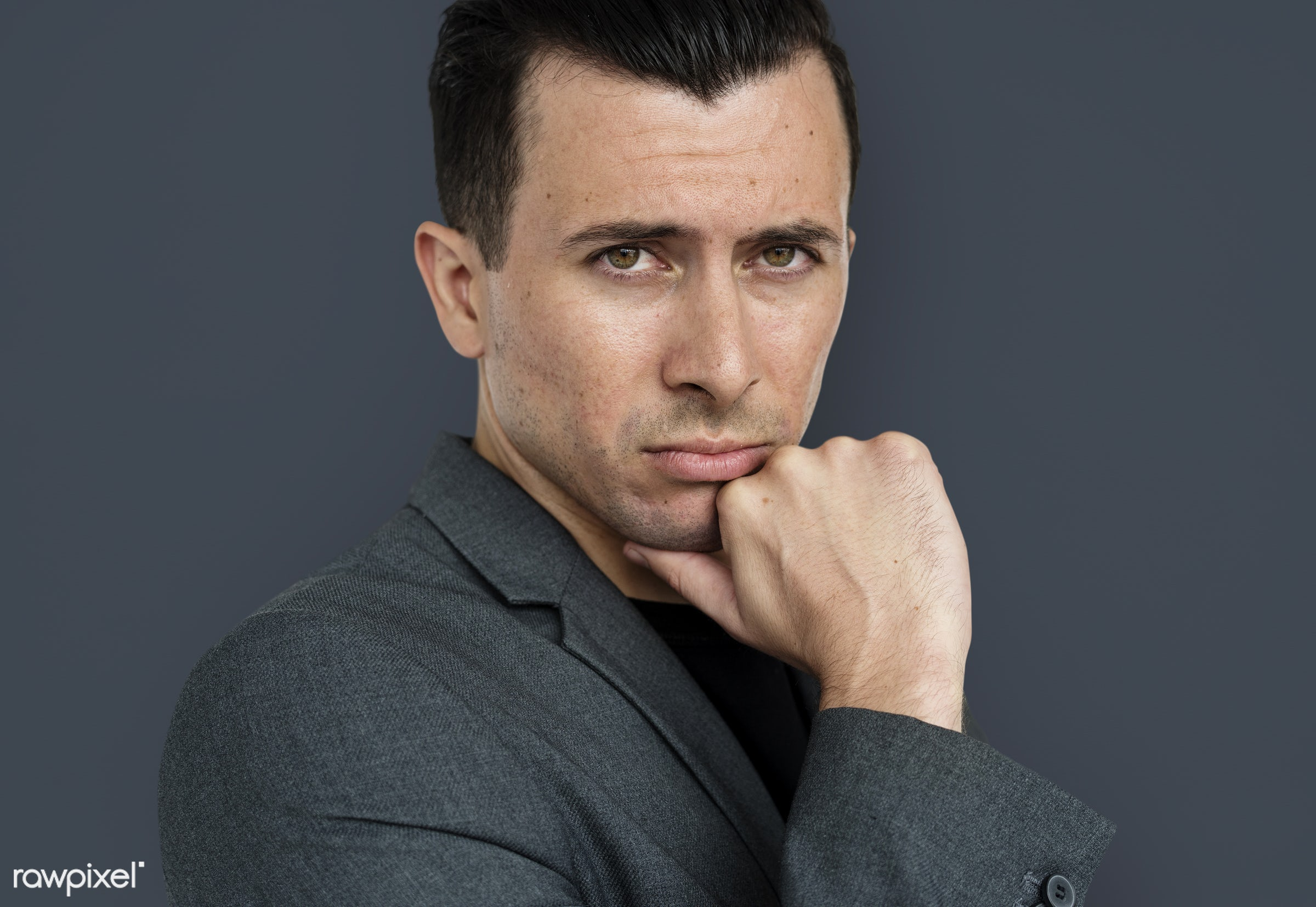 expression, intelligent, studio, face, person, people, business, modern, looking, businessman, concerned, attractive,...