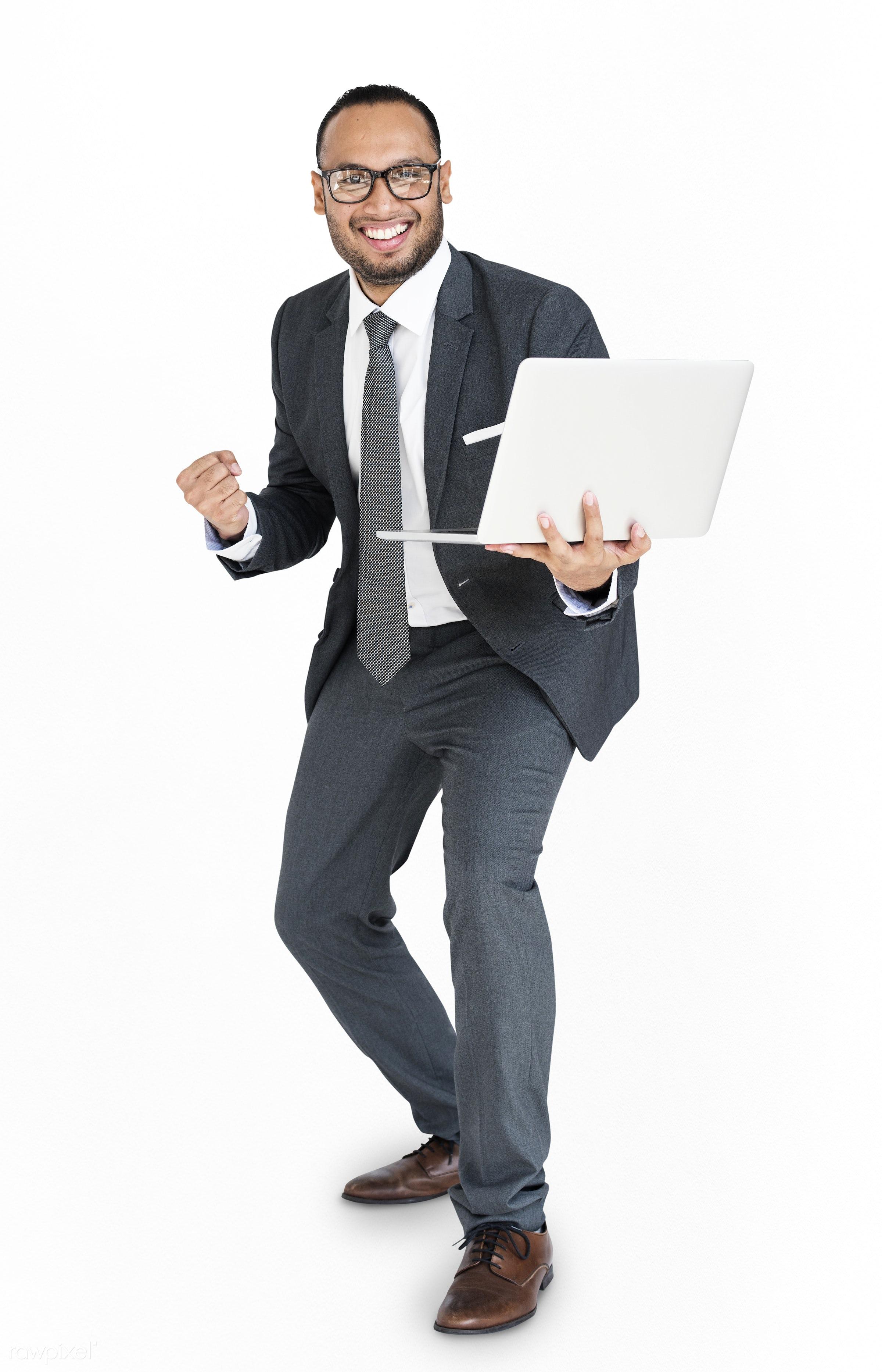 expression, studio, person, idea, business wear, achieve, people, business, asian, happy, laptop, brainstorm, smile,...