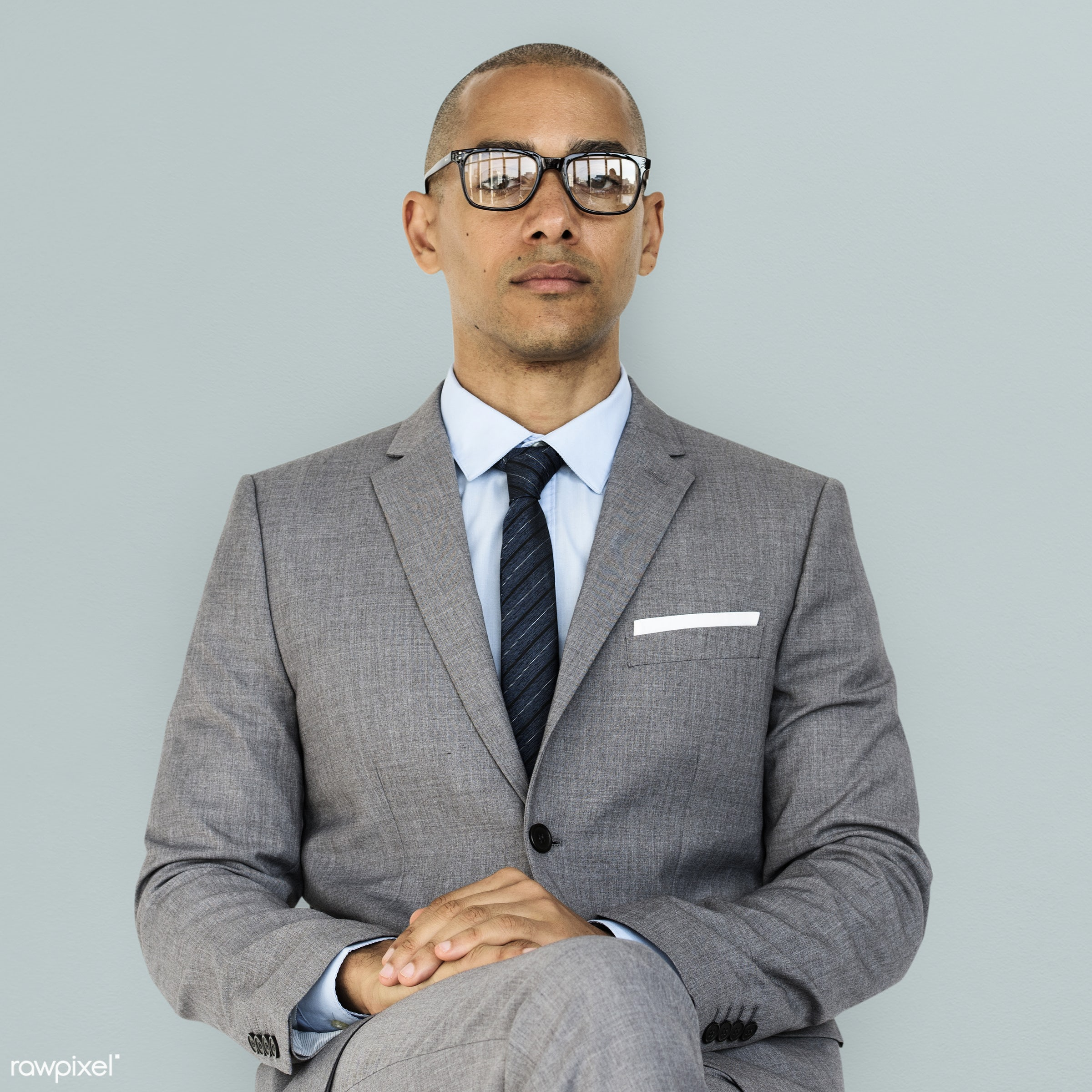 expression, studio, face, person, glasses, courage, carefree, people, business, businessman, fresh, casual, grey, mixed race...