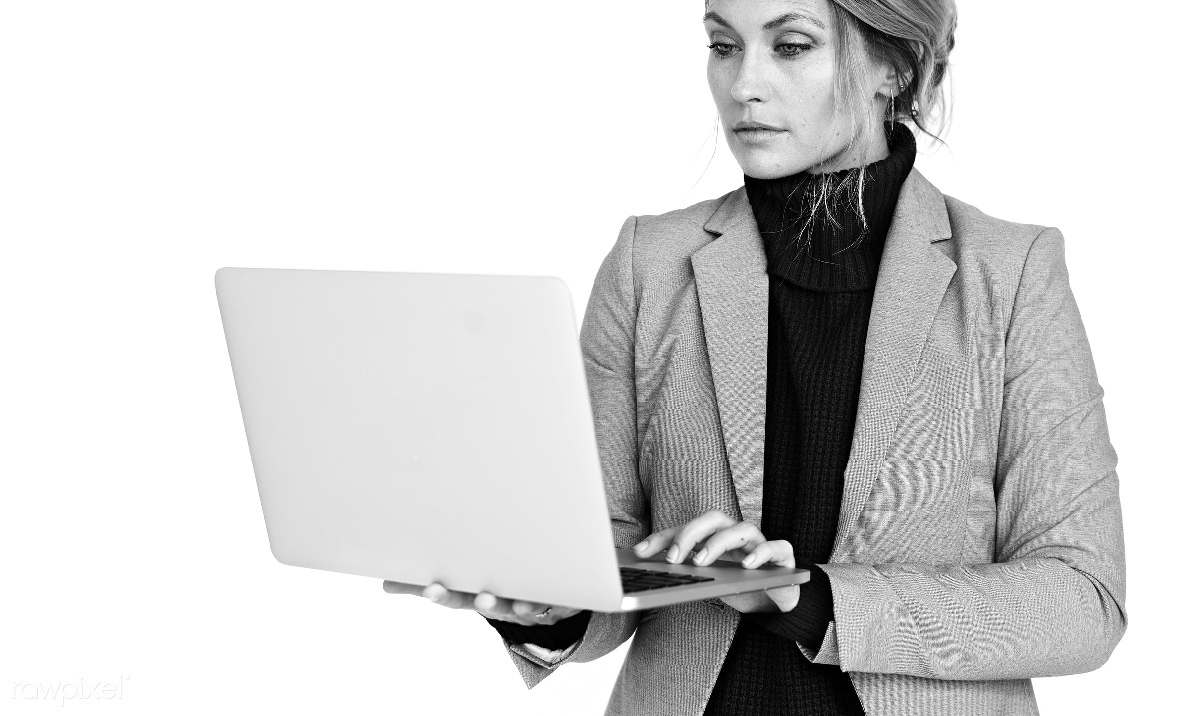 expression, studio, person, technology, manager, people, assistant, woman, laptop, isolated, connection, clothes, career,...