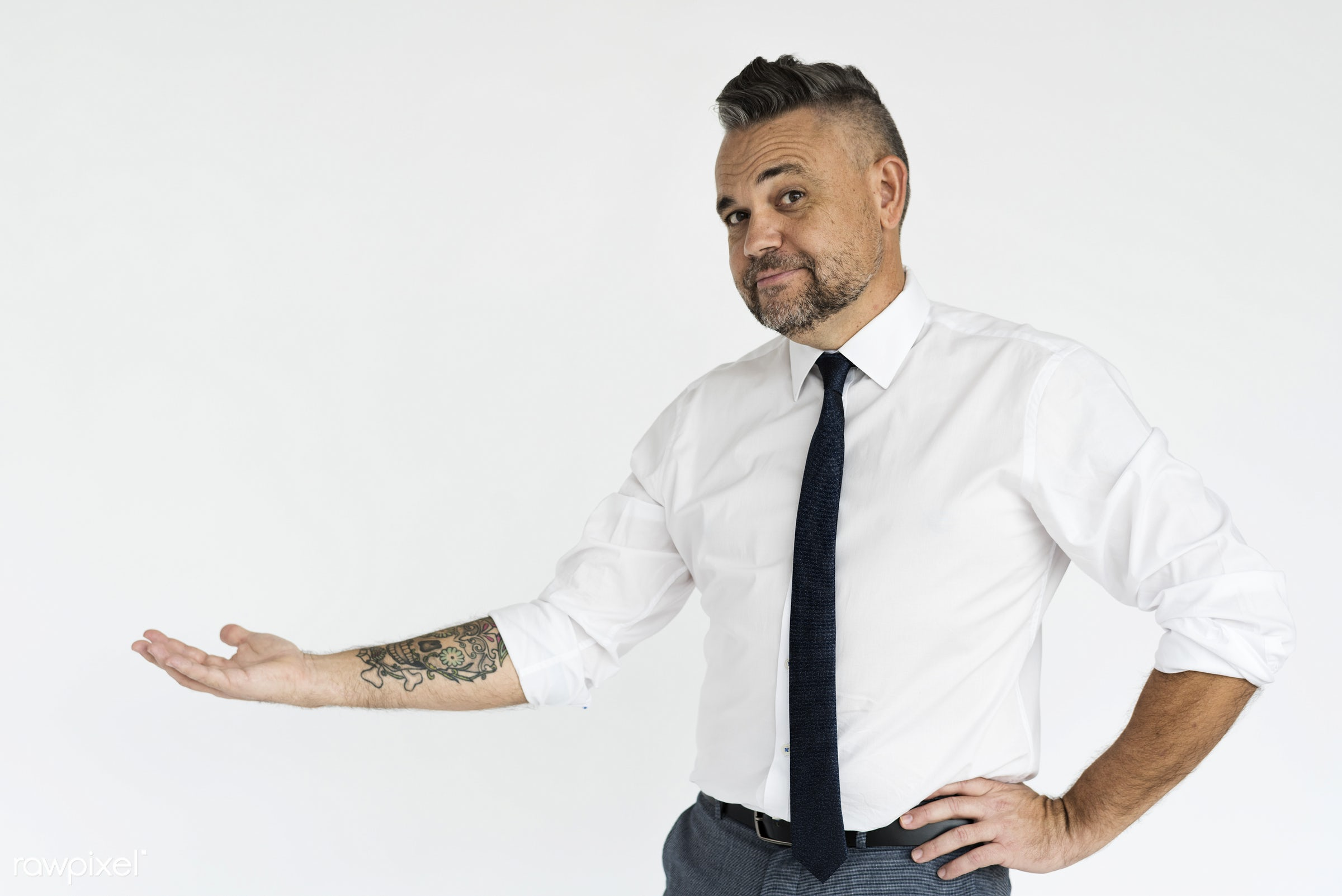 studio, person, one, people, business, modern, businessman, style, attractive, tattoo, positive, cheerful, man, isolated,...