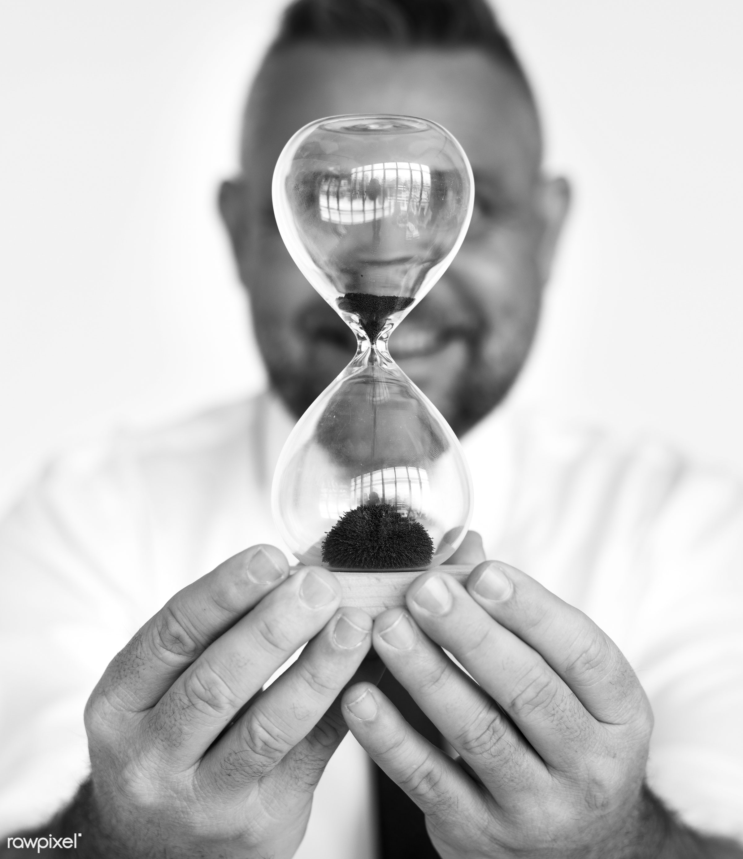 studio, person, one, people, business, modern, businessman, style, attractive, positive, cheerful, man, hourglass, isolated...