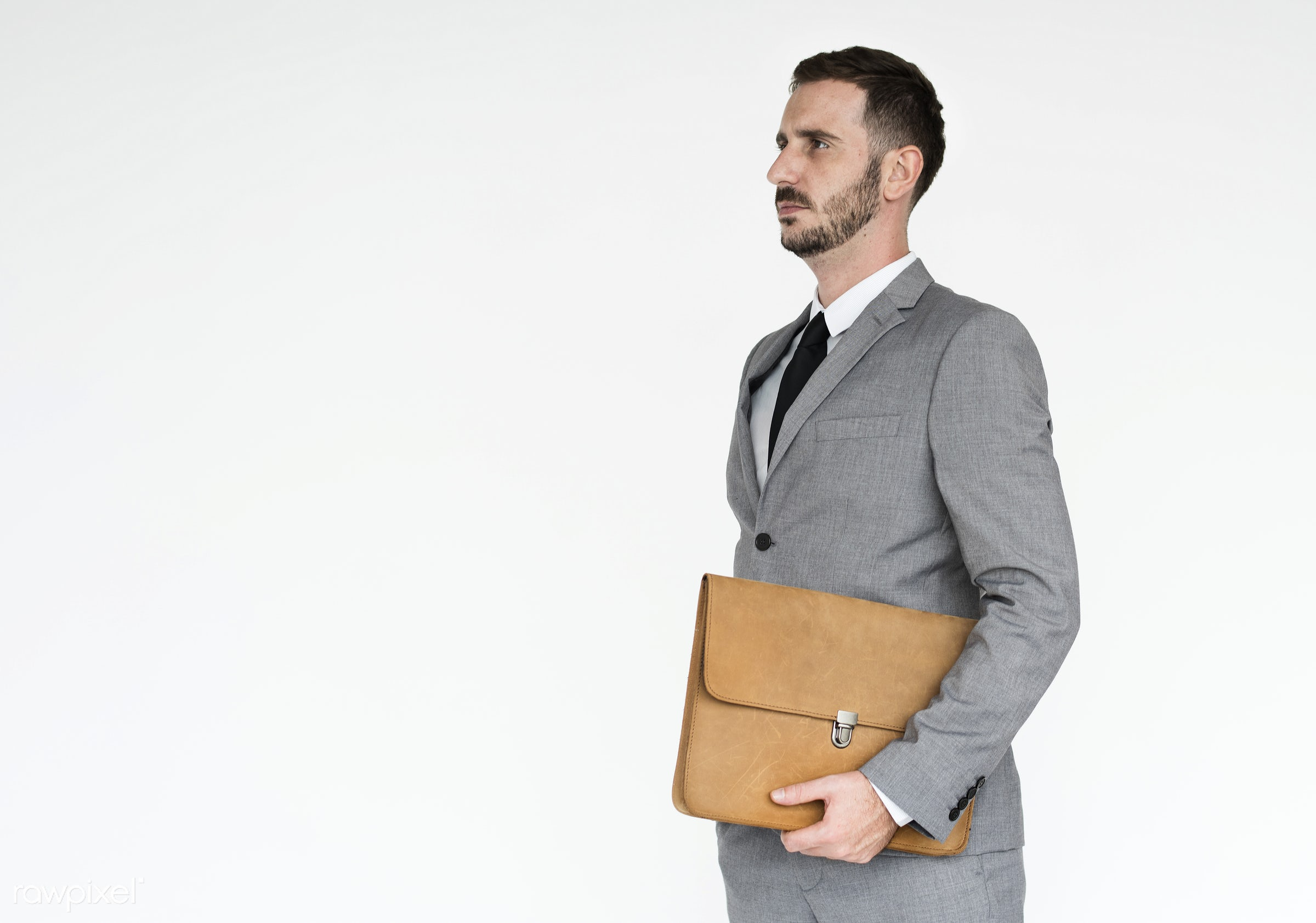 studio, expression, person, model, white collar worker, holding, isolated on white, luggage, people, business, businessman,...