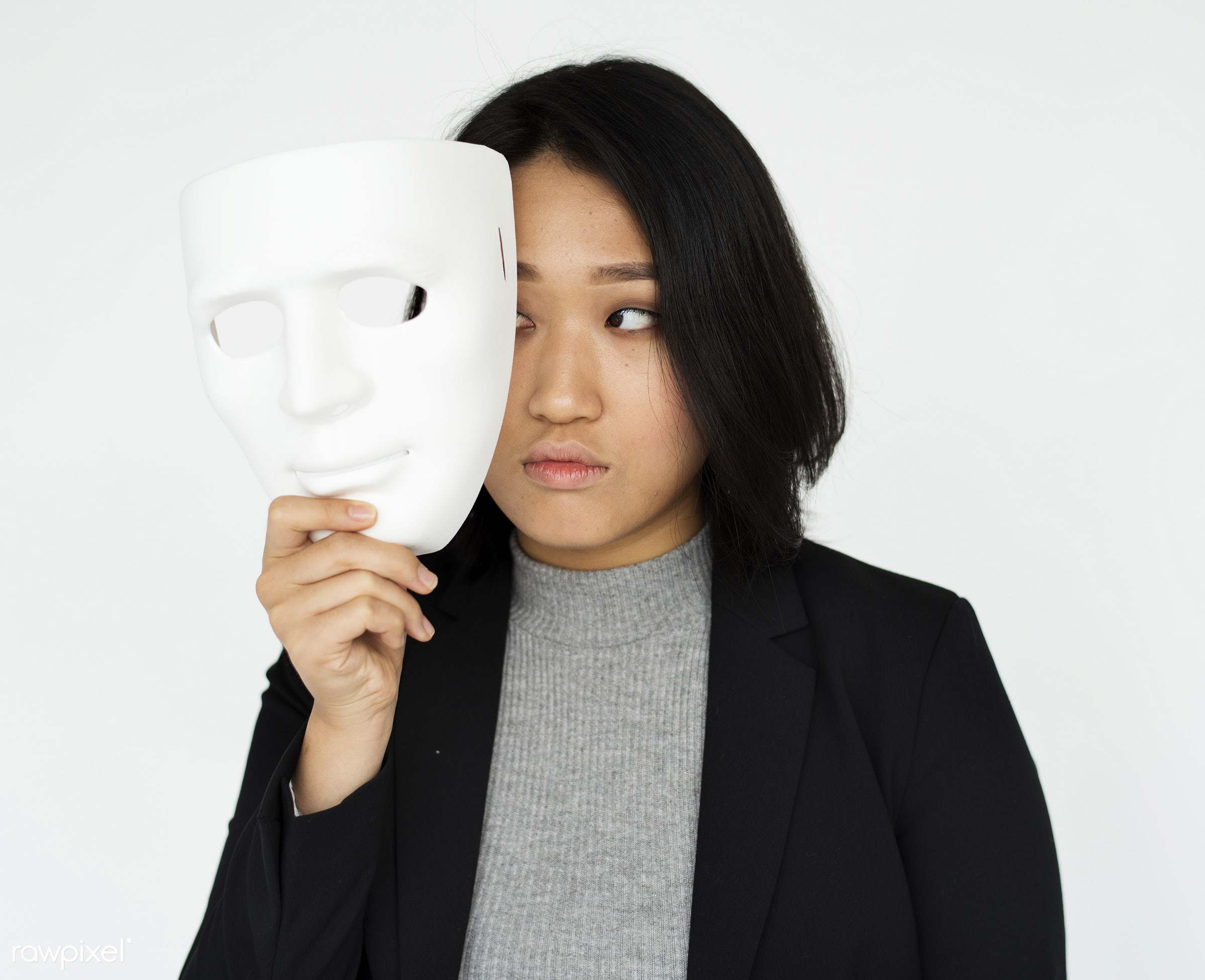 expression, studio, face, model, person, isolated on white, mask, imagination, personality, people, business, asian, cover,...