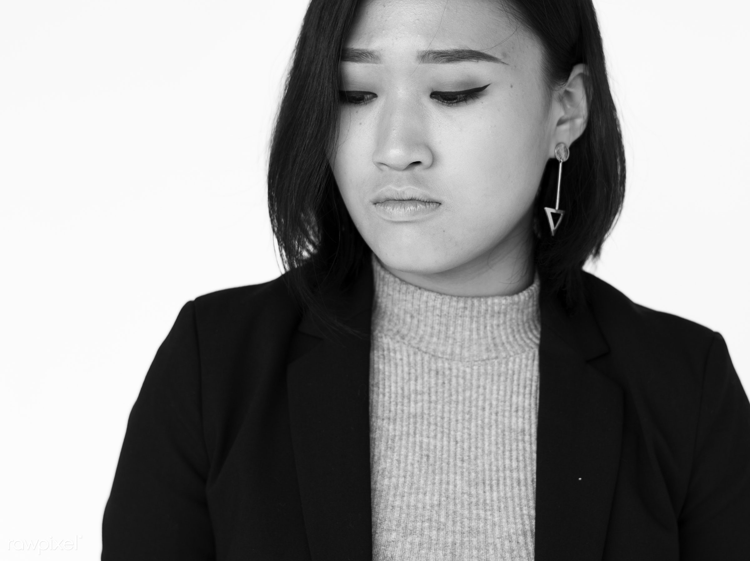expression, studio, face, person, model, isolated on white, sad, issue, people, business, asian, concerned, style, woman,...