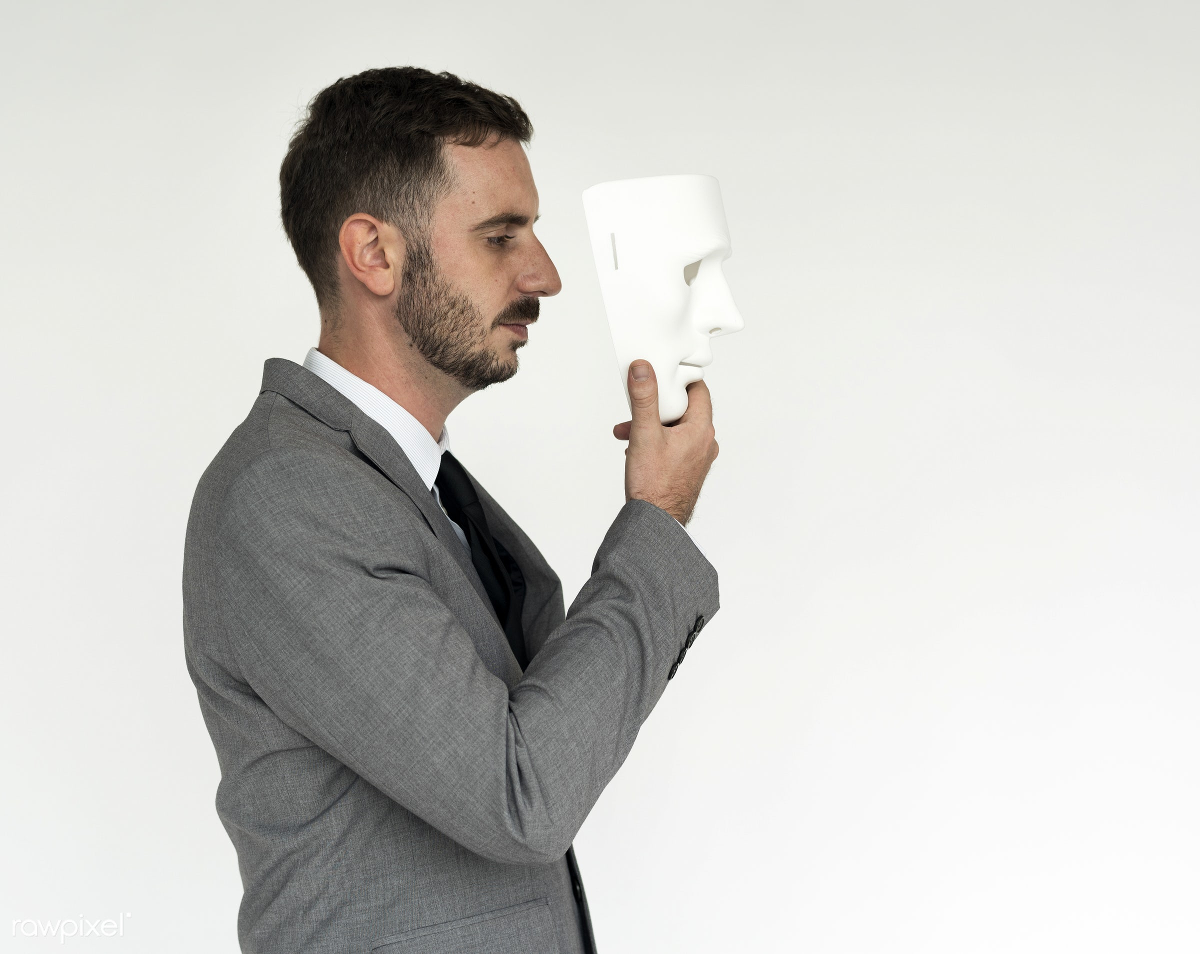 studio, expression, person, model, white collar worker, spy, isolated on white, mask, fraud, people, business, anonymous,...