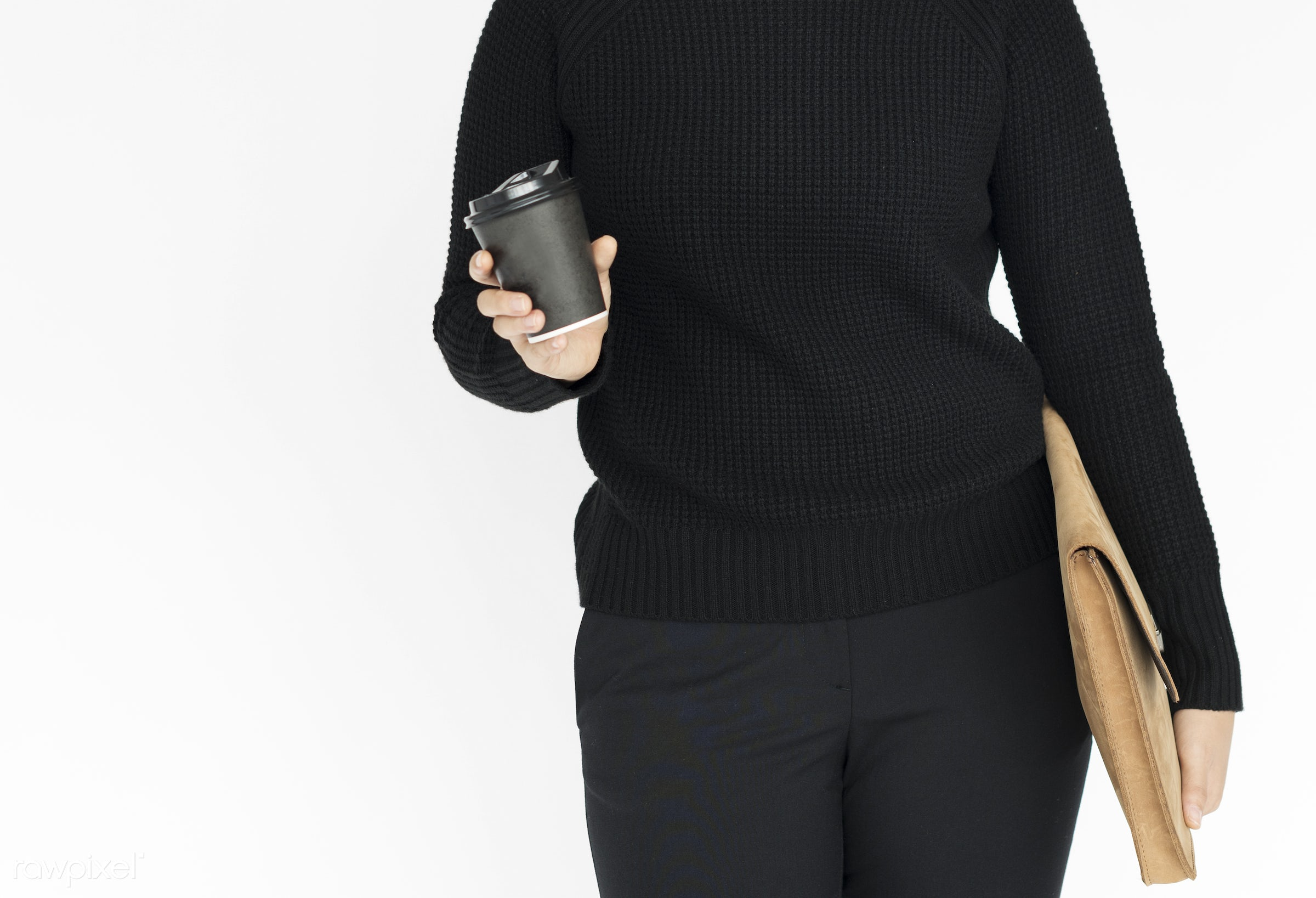 studio, cup, expression, person, holding, people, woman, positive, smile, cheerful, refresh, smiling, isolated, bag, coffee...