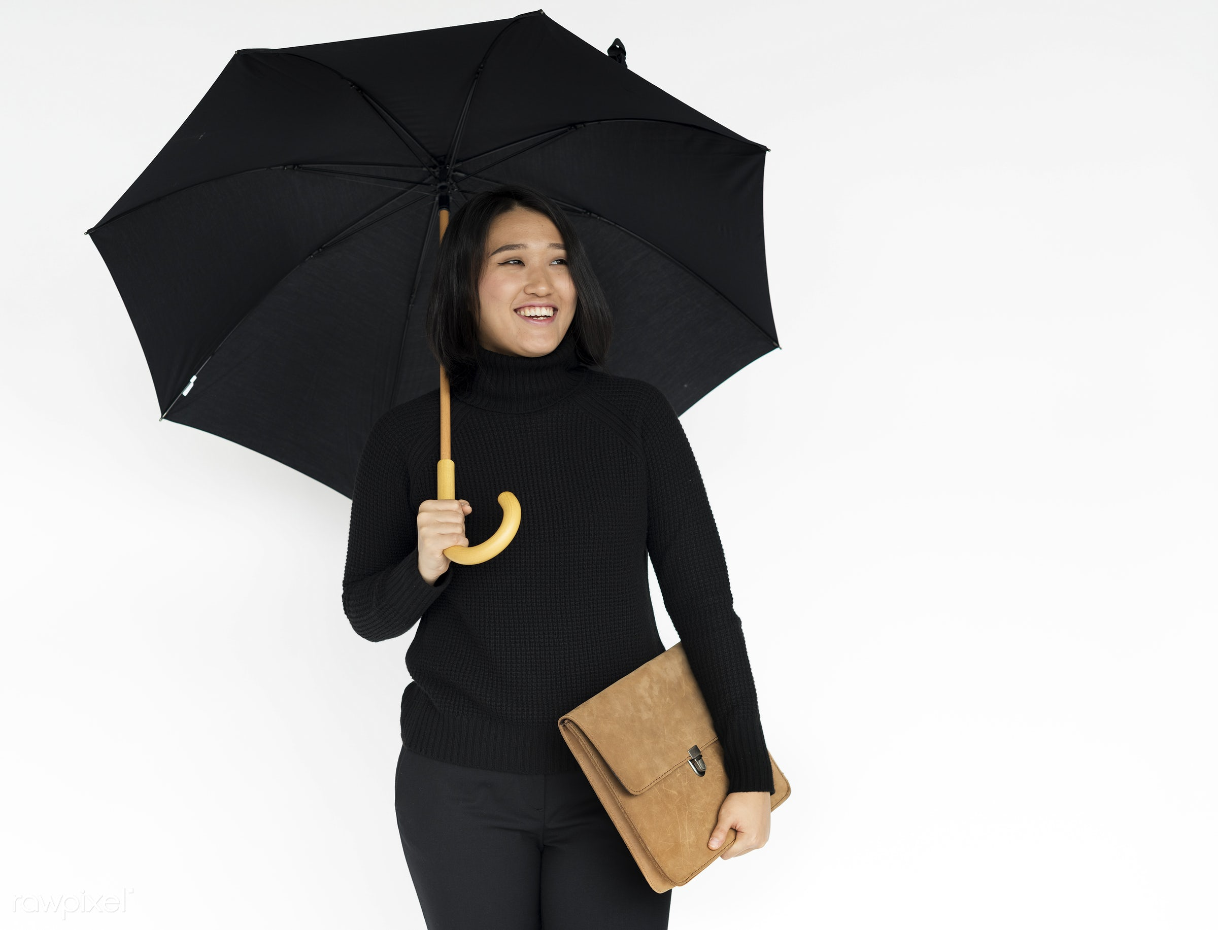 studio, expression, person, holding, people, woman, weather, positive, smile, cheerful, black, smiling, isolated, bag,...