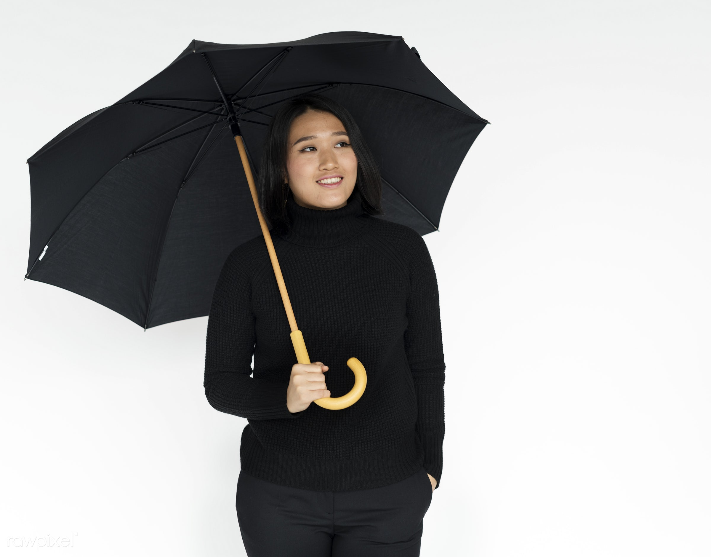 expression, studio, person, holding, people, woman, weather, positive, smile, cheerful, black, smiling, isolated, umbrella,...