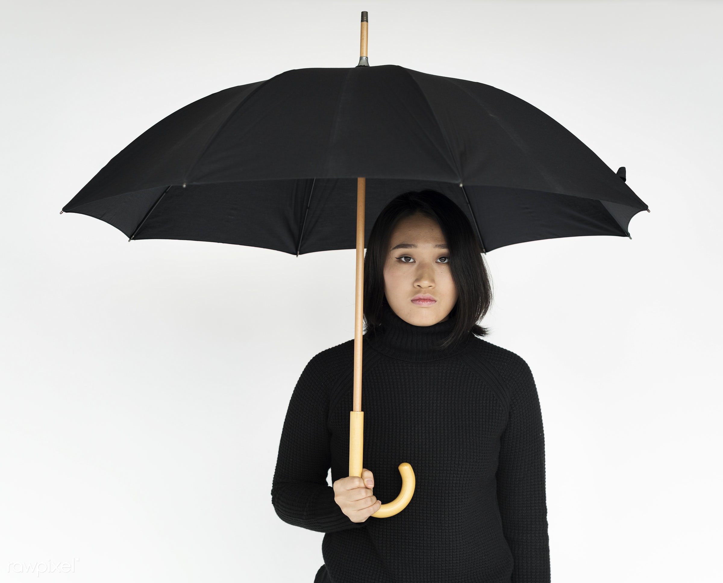 studio, expression, person, holding, sad, people, asian, woman, weather, serious, black, isolated, umbrella, white, portrait...