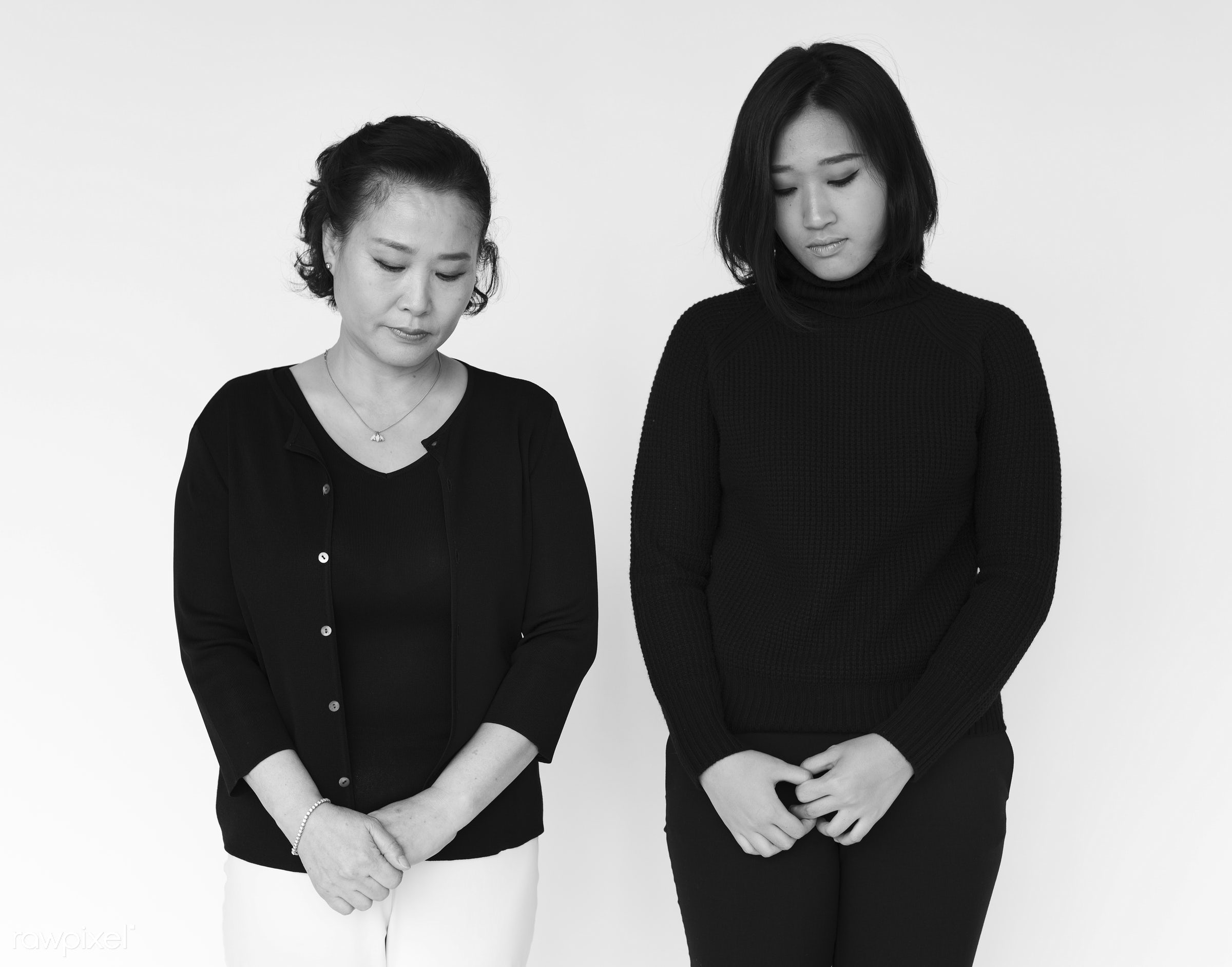 studio, expression, person, sad, people, together, asian, love, family, woman, isolated, white, bad, disappointed, portrait...