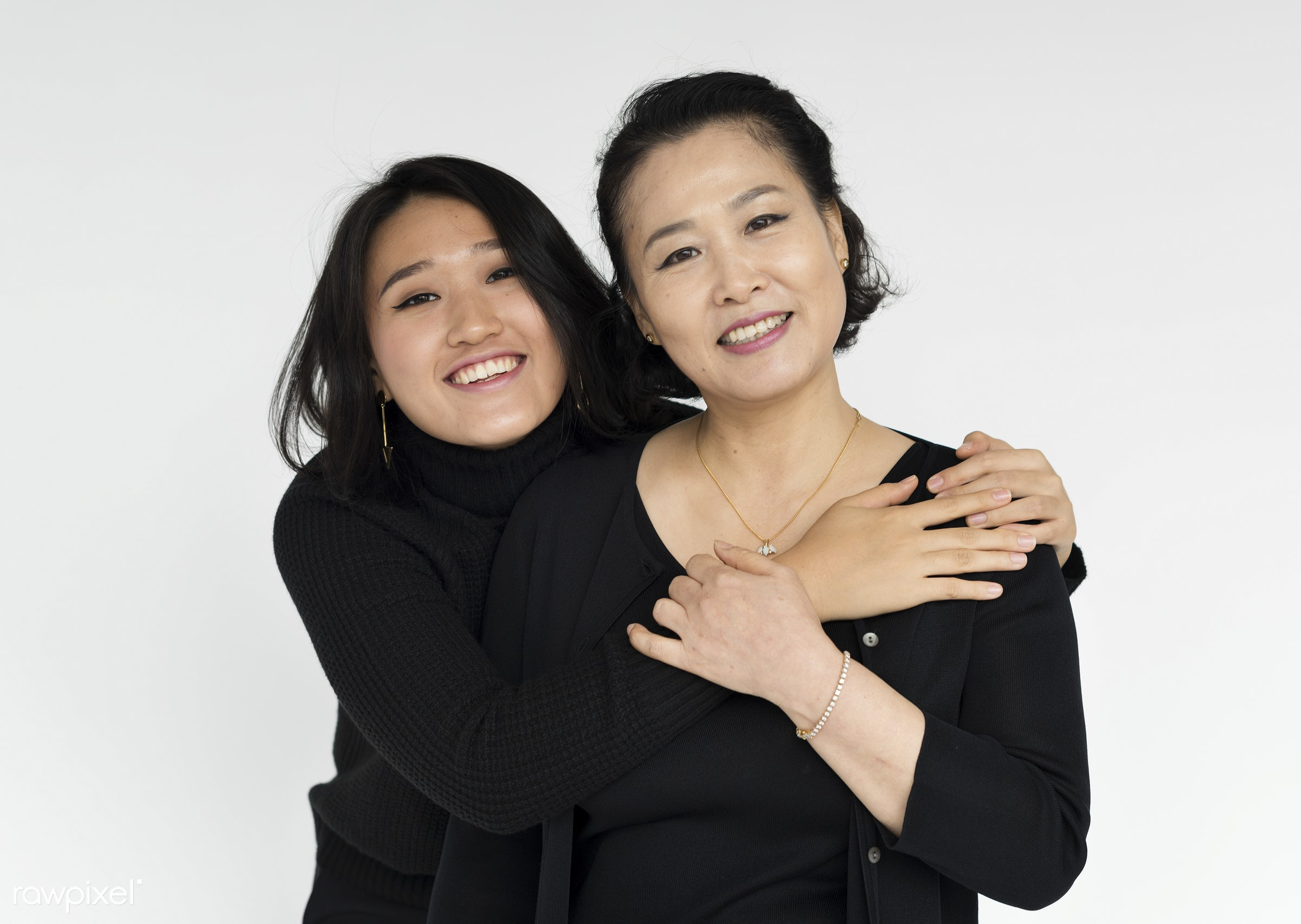 Portrait of a Korean mother and daughter - parents, daughter, related, love, girl, woman, family, casual, parenting,...