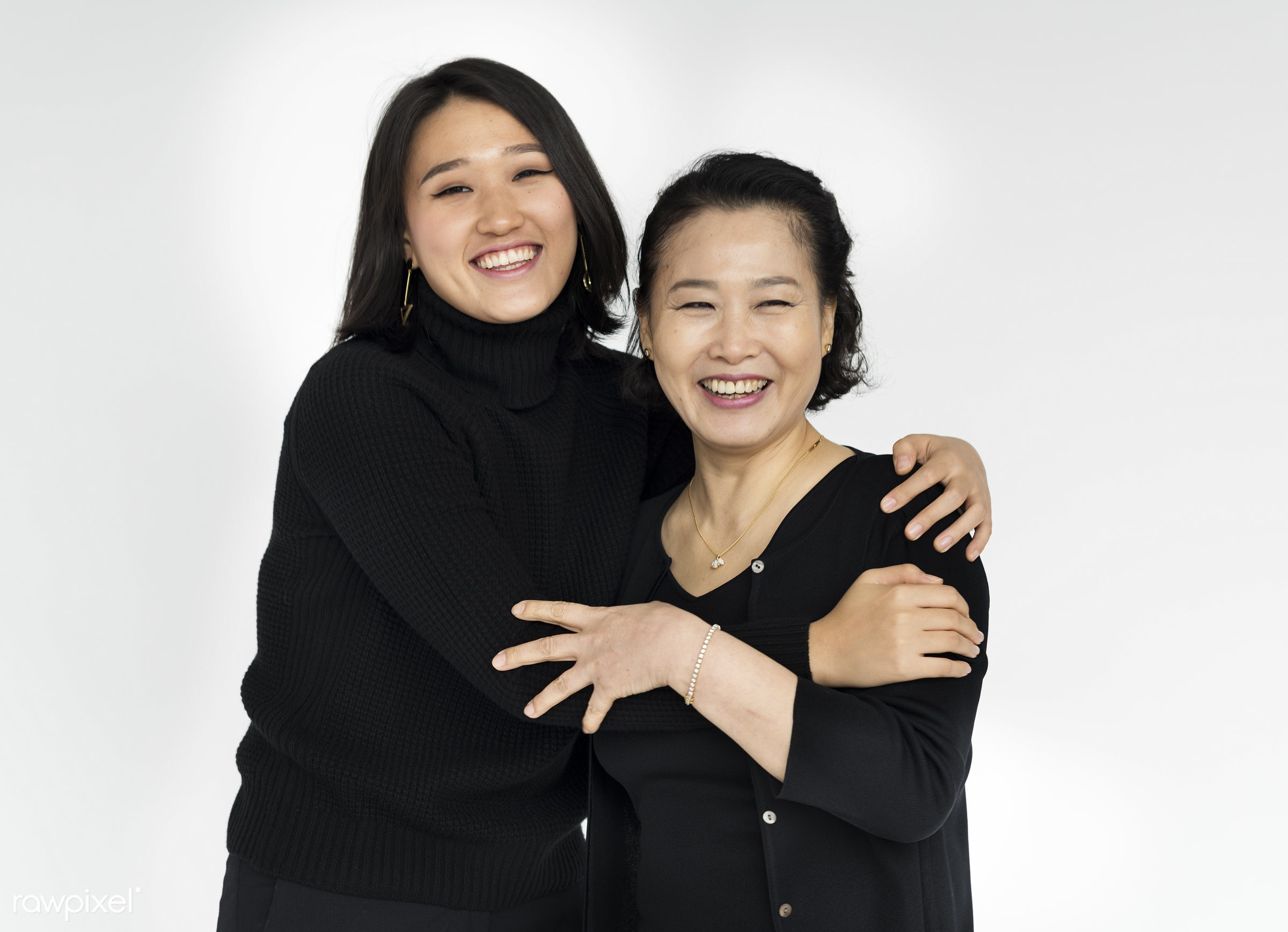 expression, studio, person, holding, people, together, asian, love, woman, family, care, embrace, cheerful, smiling,...