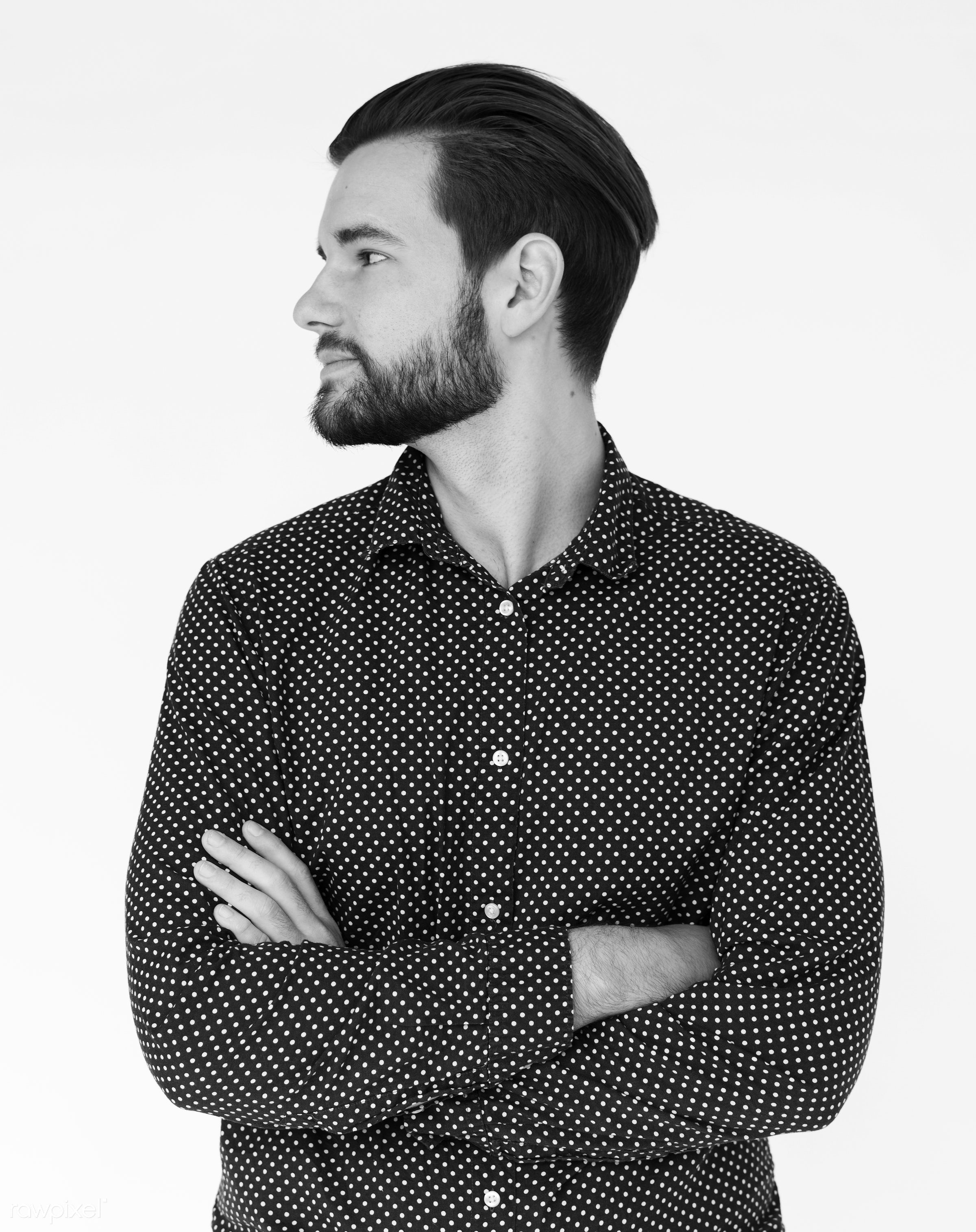 expression, studio, model, person, isolated on white, one, people, business, caucasian, modern, businessman, style, positive...