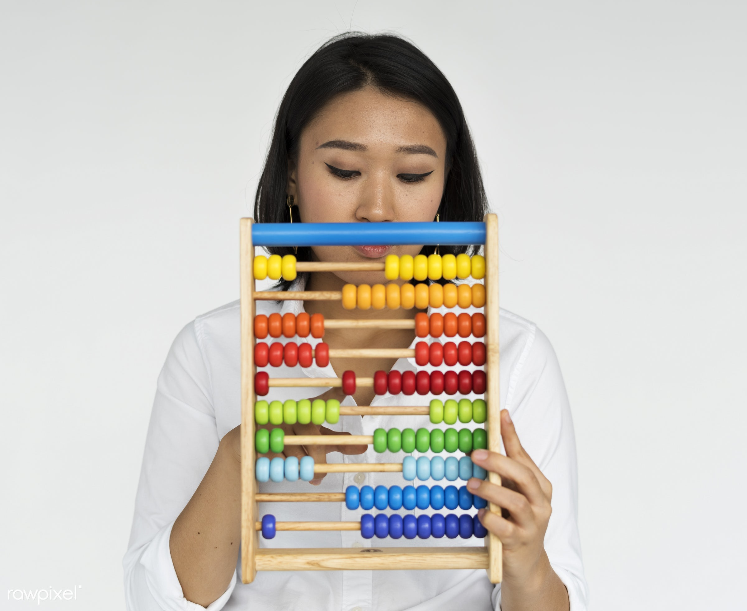 studio, expression, person, count, tool, accounting, people, asian, woman, abacus, positive, smile, cheerful, isolated,...