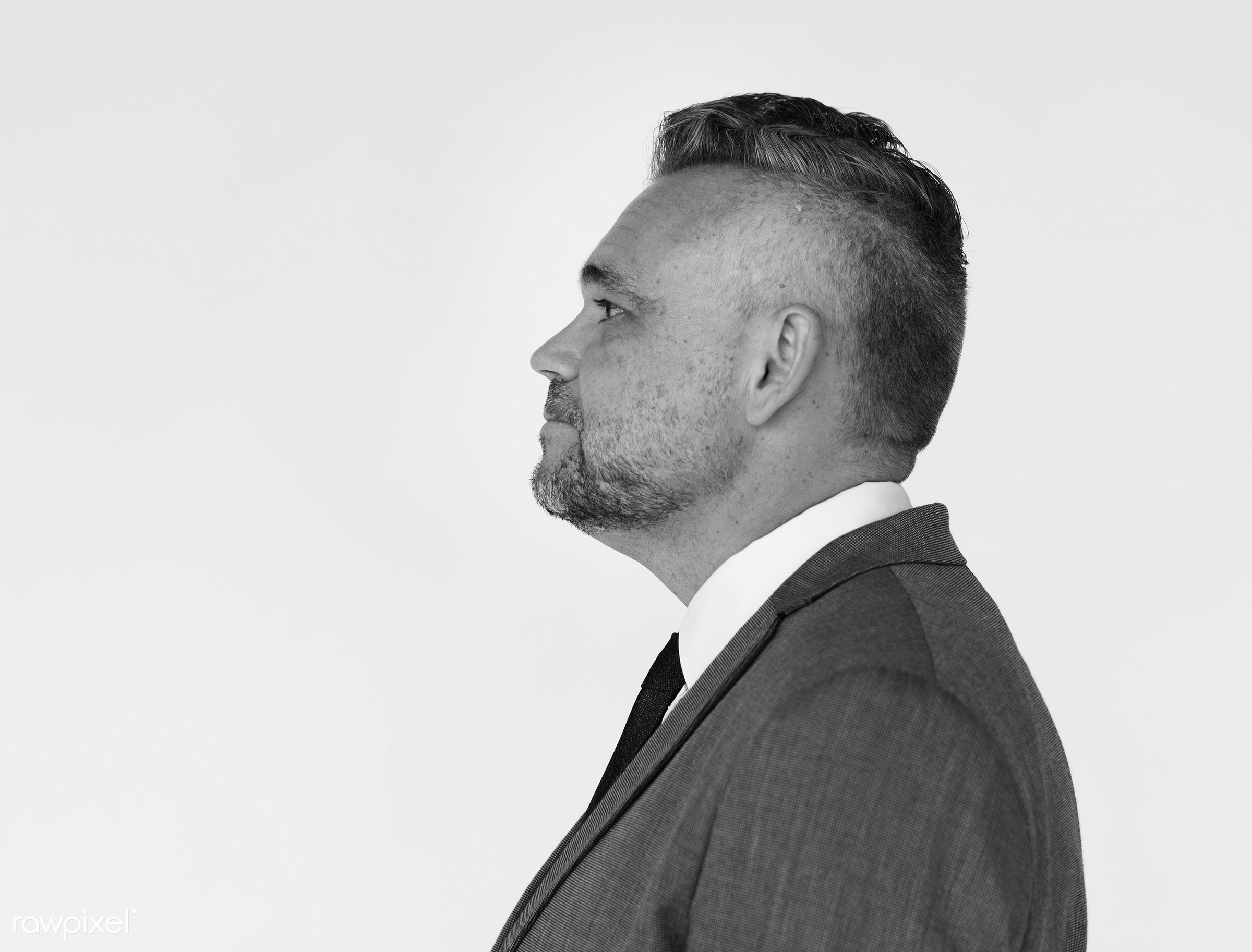 studio, expression, model, person, white collar worker, isolated on white, one, people, business, modern, businessman, style...