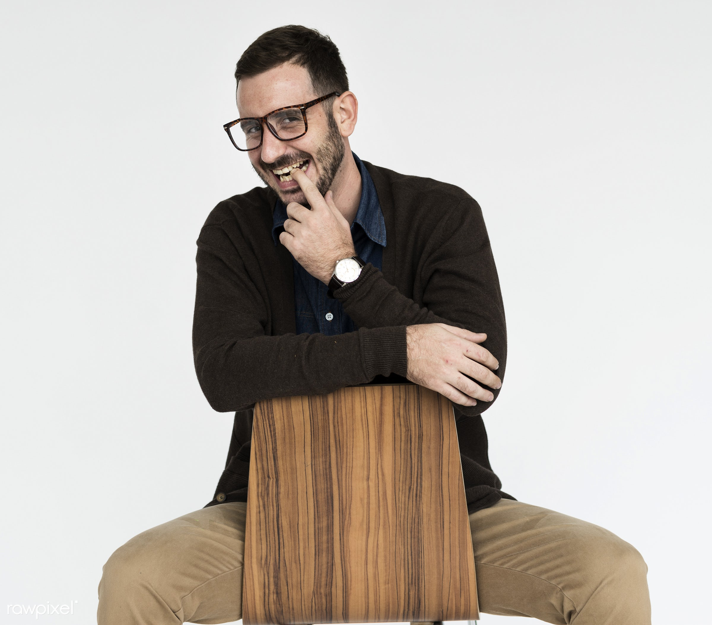 studio, expression, model, person, glasses, isolated on white, one, people, business, caucasian, modern, businessman, style...