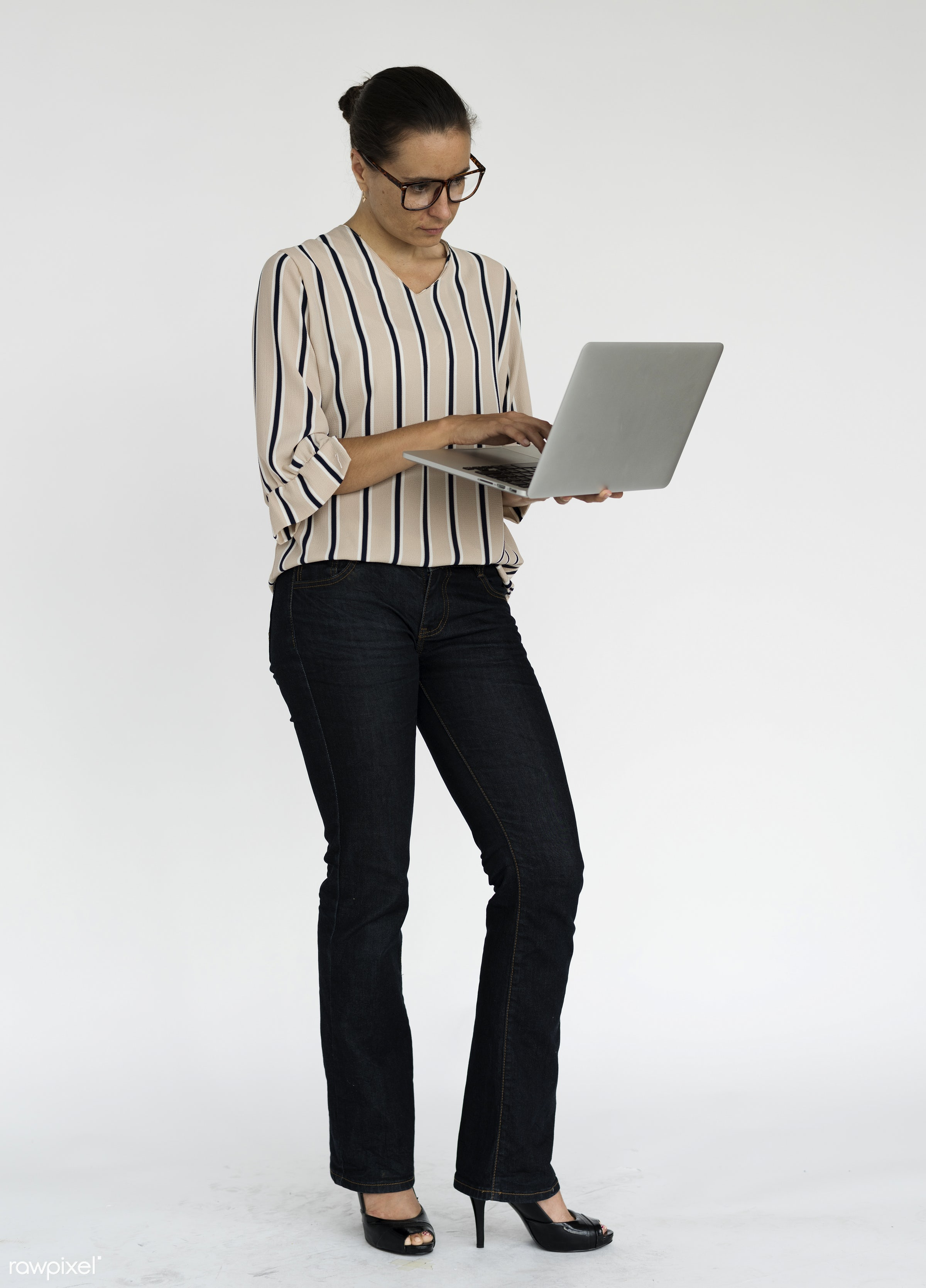 studio, expression, using, person, technology, holding, people, caucasian, woman, lifestyle, laptop, positive, serious,...